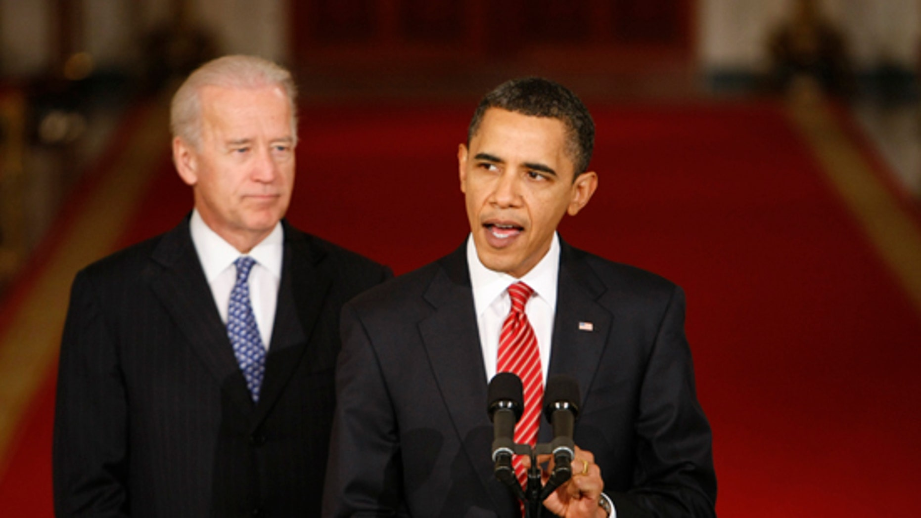 Sunday: President Obama, with Vice President Biden, makes a statement to the nation following the final vote in the House of Representatives on a health insurance overhaul.  (AP Photo)