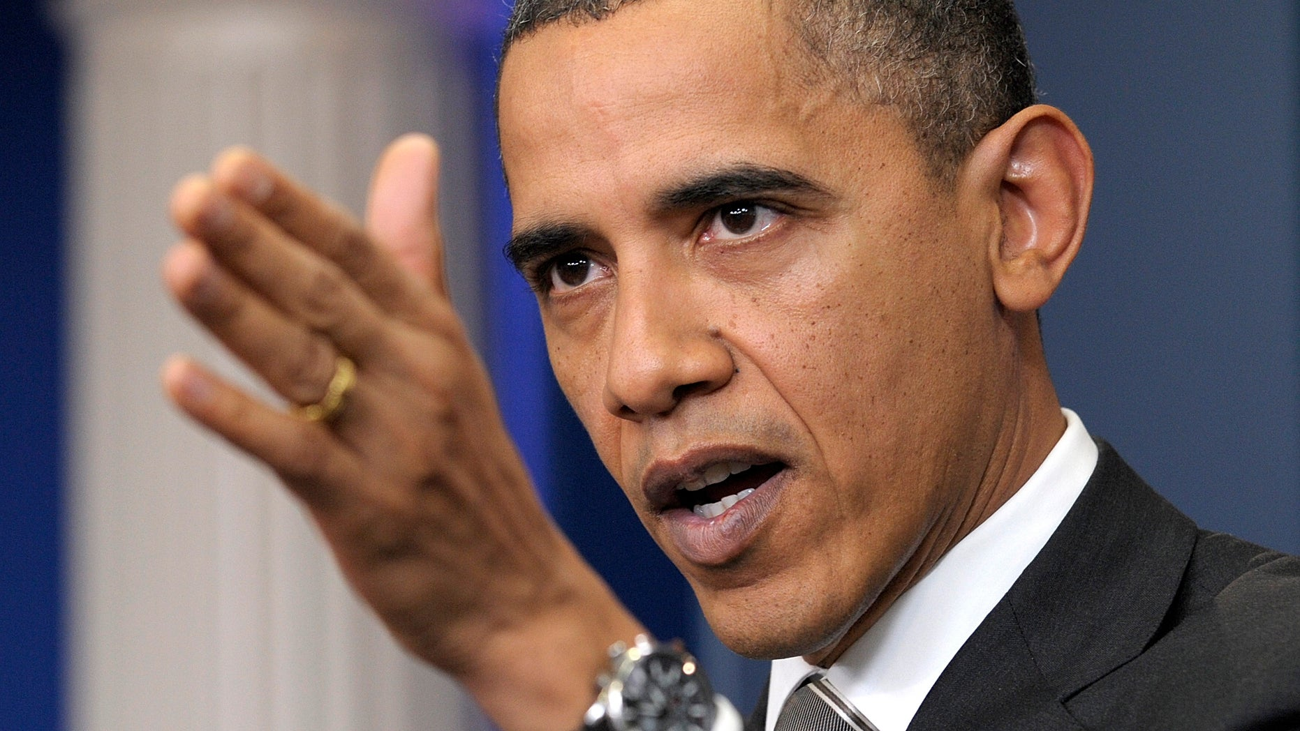 Dec. 7: Obama gestures during a news conference in the White House briefing room in Washington. If Obama persuades reluctant Congressional Democrats to quickly endorse the tax cuts he negotiated with Republicans, that would clear the way for the Senate to consider the New START treaty.
