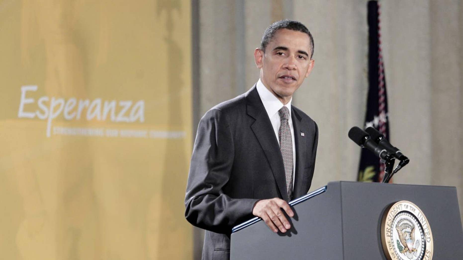 President Barack Obama delivers remarks at the National Hispanic Prayer Breakfast at the Mellon Auditorium in Washington, Thursday, May 12, 2011. (AP Photo/Pablo Martinez Monsivais)