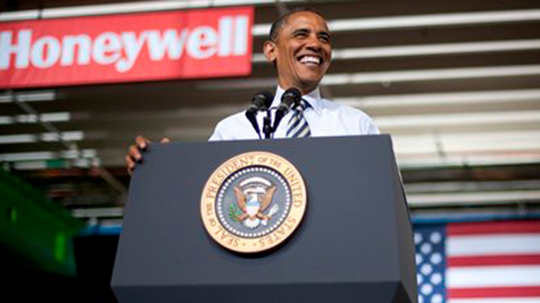 Friday, June 1, 2012: President Barack Obama speaks about jobs at a Honeywell Headquarters in Golden Valley, Minn.