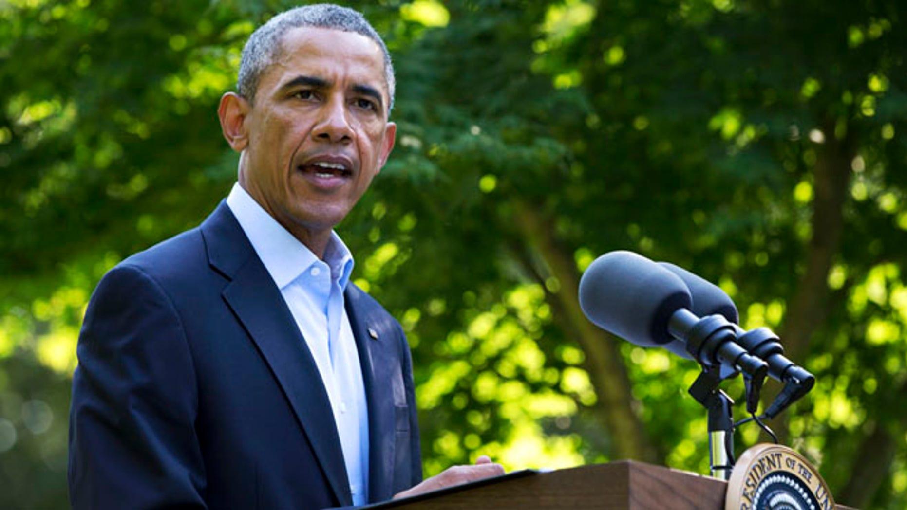President Barack Obama speaks about developments in Iraq.
