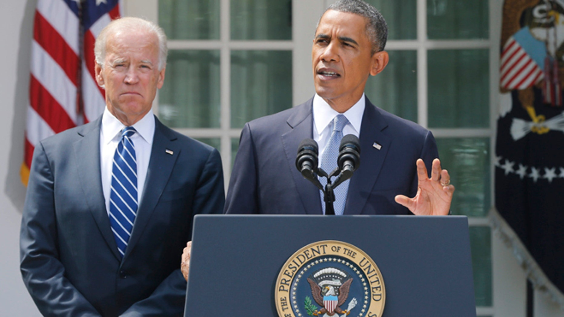 Aug. 31, 2013: President Obama with Vice President Biden as he makes a statement about Syria in the Rose Garden at the White House in Washington.