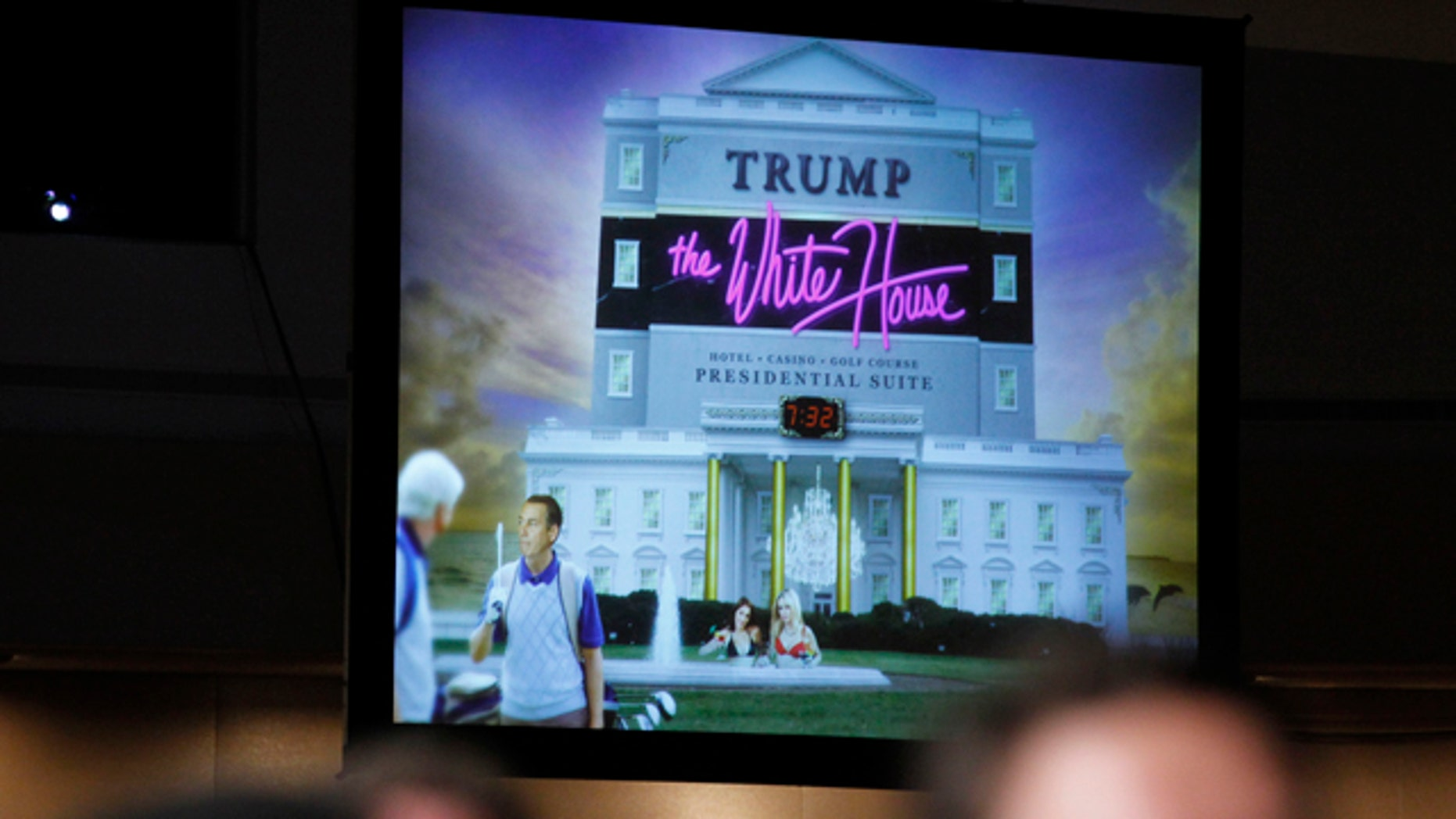 April 30: A video is shown as President Barack Obama, speaks about Donald Trump at the White House Correspondents Association Dinner in Washington.