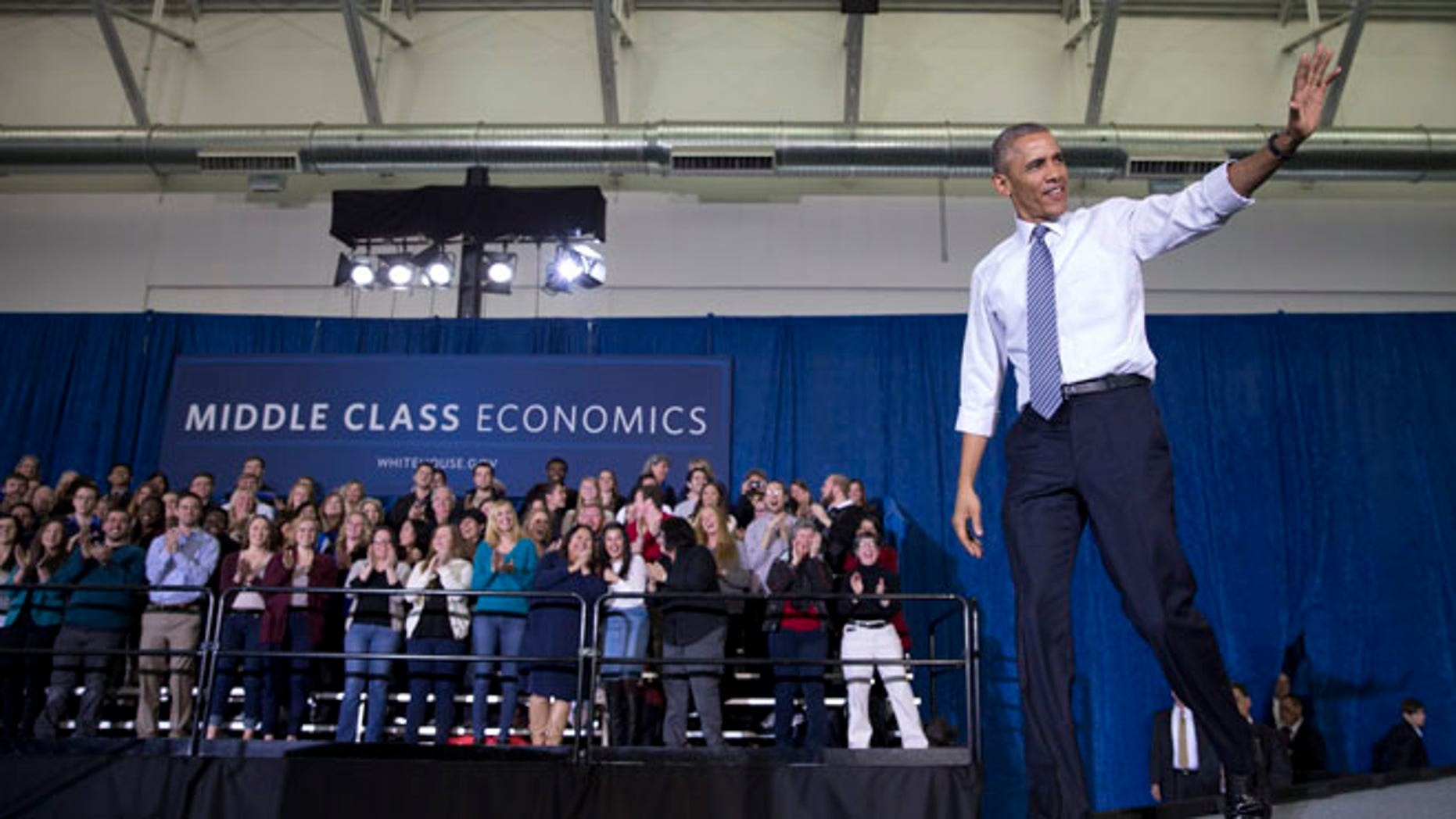 Jan. 21, 2015: President Obama arrives to speak at Boise State University, in Boise, Idaho.