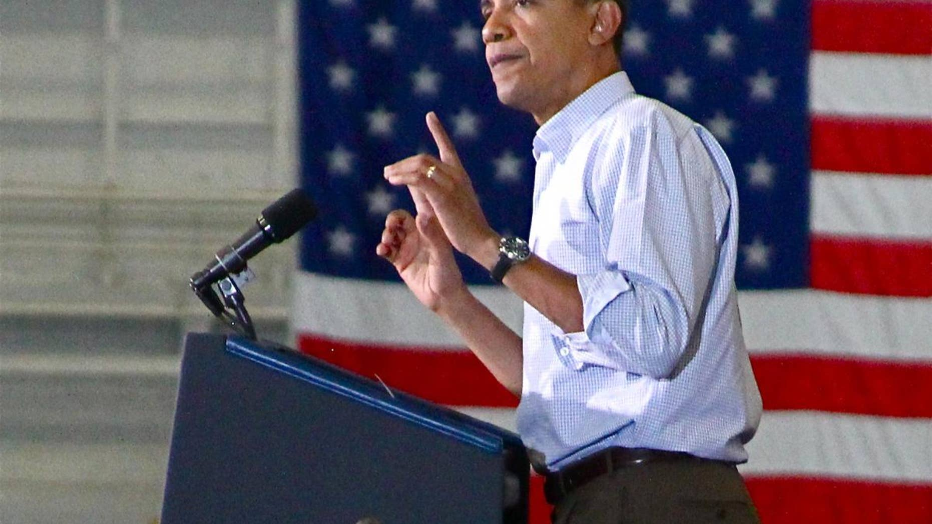 President Obama at a rally for Gubernatorial Candidate Mark Dayton (D-MN), Oct. 23 (Fox Photo)