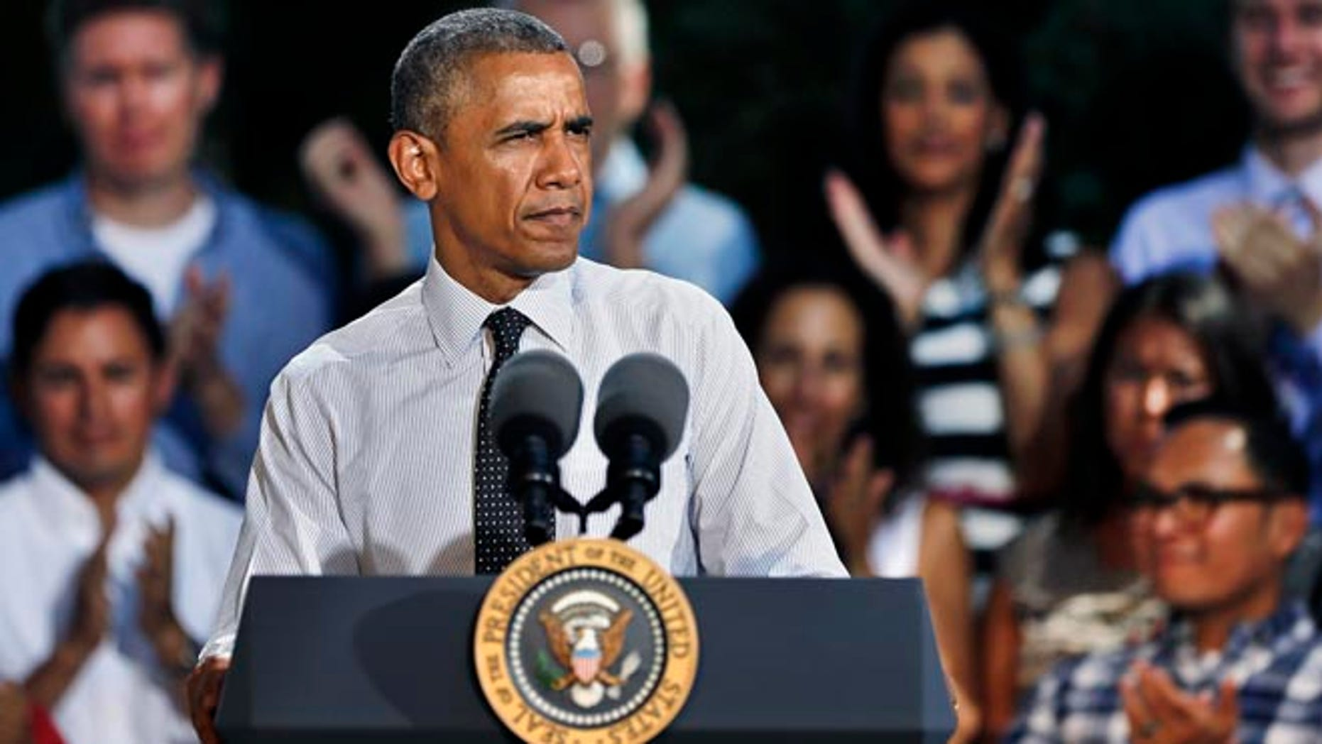 President Barack Obama speaks about the economy, Wednesday, July 9, 2014, at Cheesman Park in Denver.