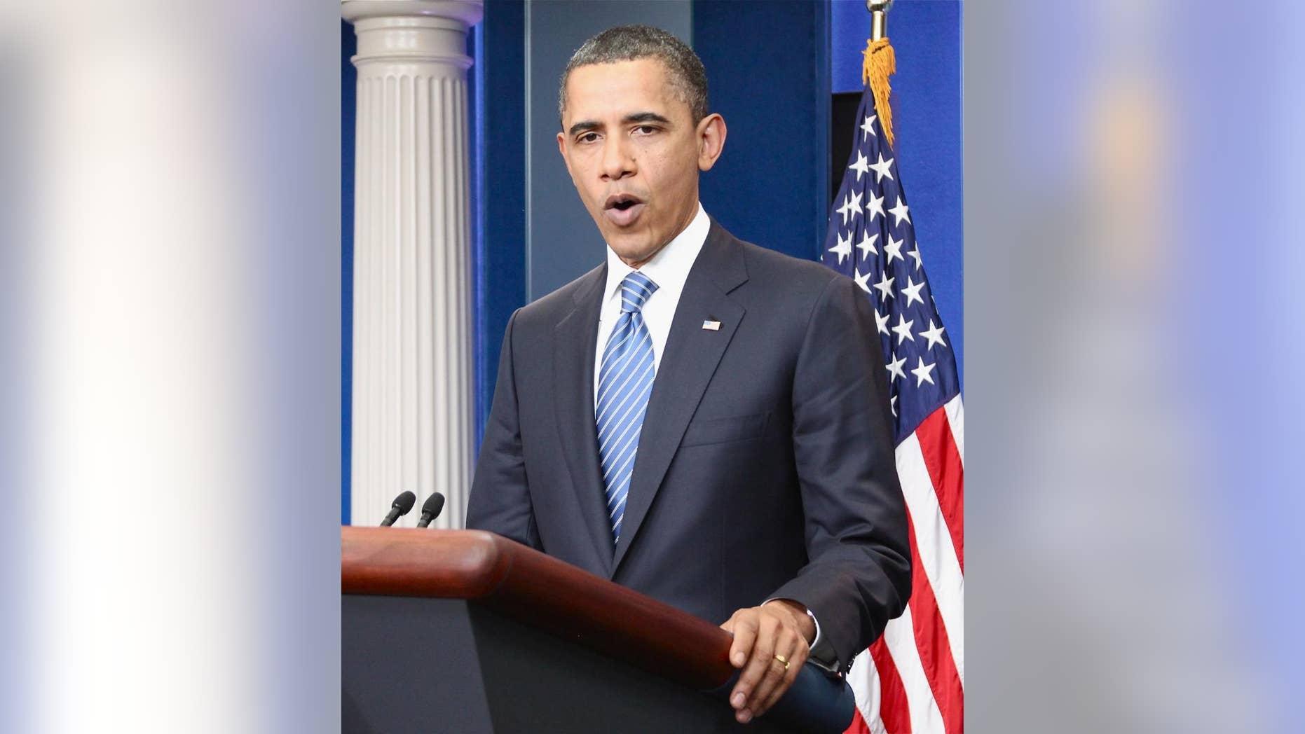 President Obama addresses reporters late Thursday/Fox News Photo by Brian Haefeli