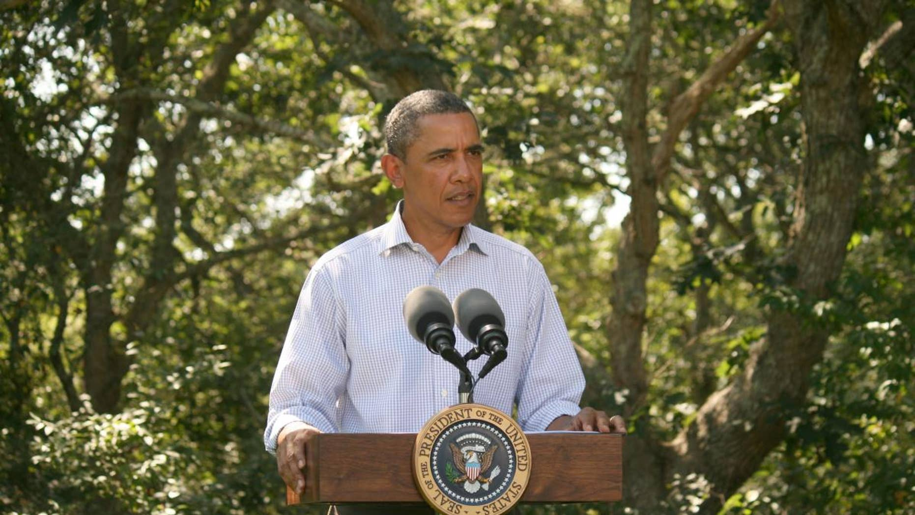 President Obama delivers a statement on Hurricane Irene from Martha's Vineyard Friday morning. (Pool Photo)