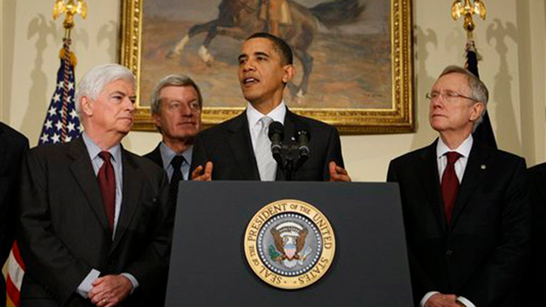 President Obama makes a statement on health care reform after meeting with senators, Tuesday, Dec. 15, 2009, at the White House. (AP)