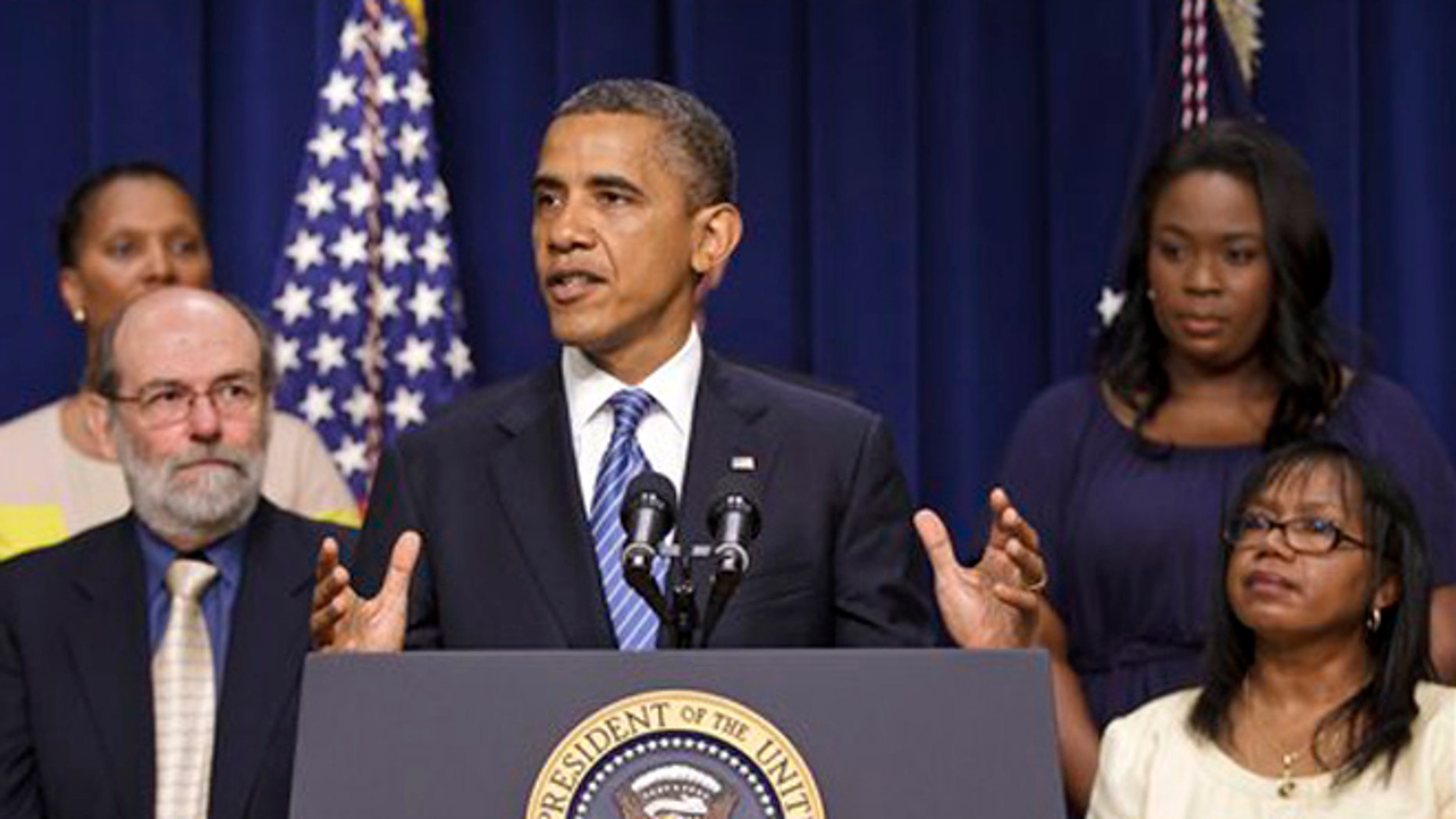 Friday, August 3, 2012: President Barack Obama talks about taxes in Eisenhower Executive Office Building in Washington.