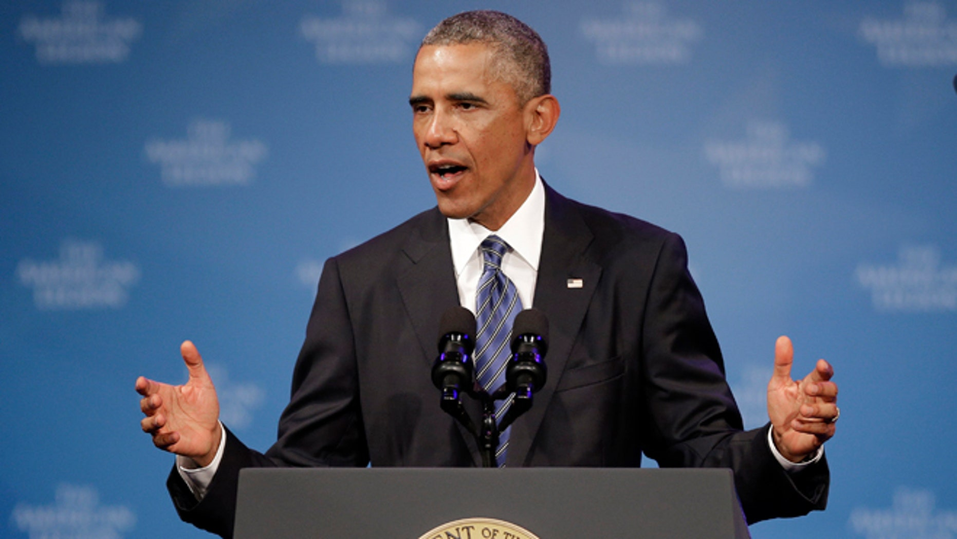 President Barack Obama speaks during the American Legion national convention in Charlotte, N.C., Tuesday, Aug. 26, 2014.