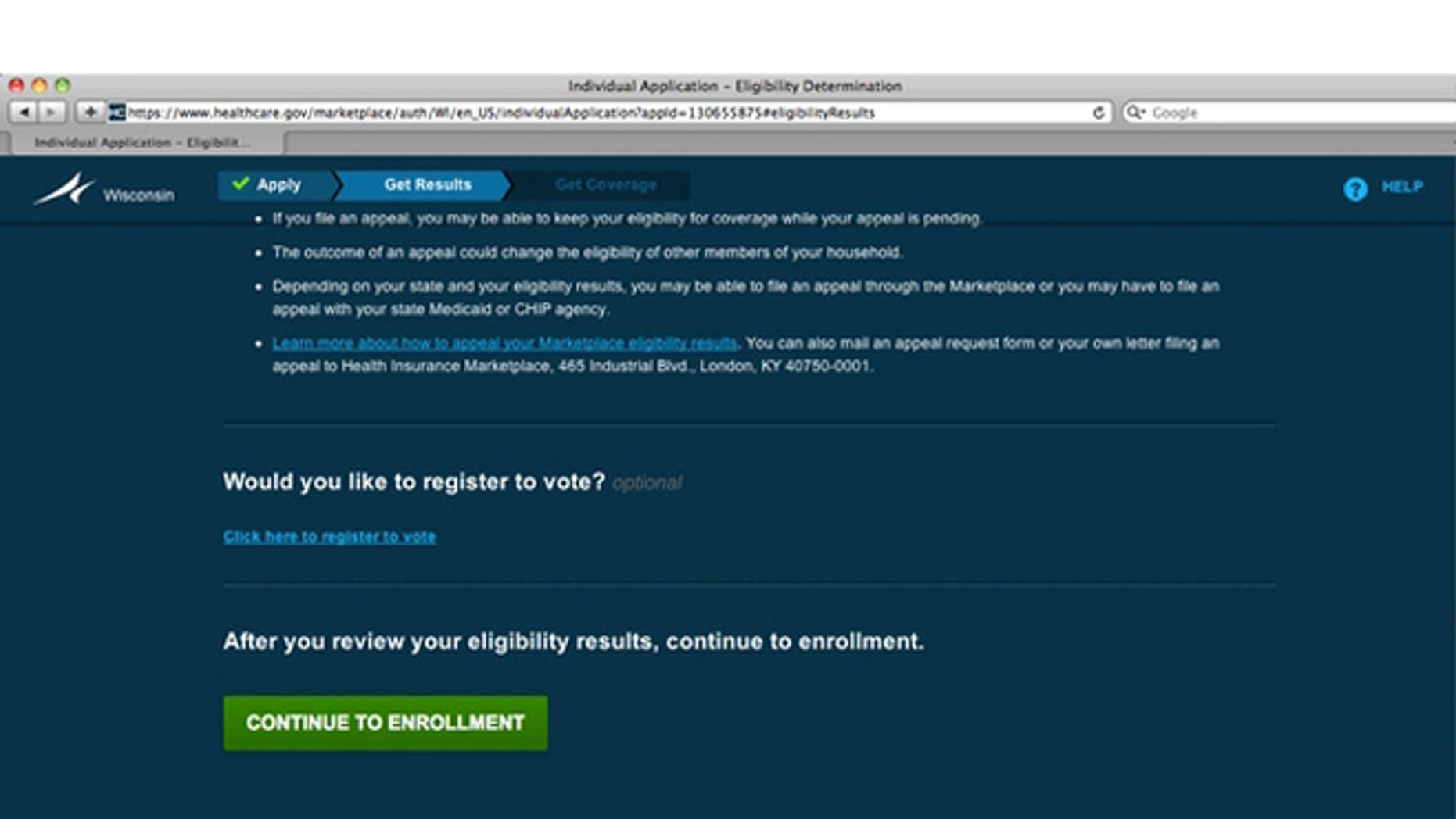 FILE: UNDATE: A frame-grab on the heathcare.gov website.