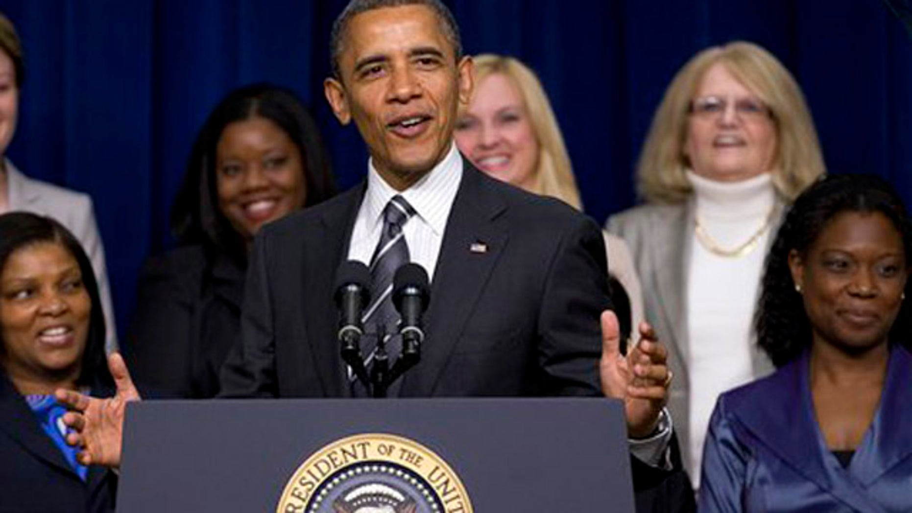 President Barack Obama speaks at the White House Forum on Women and the Economy. April 6, 2012,