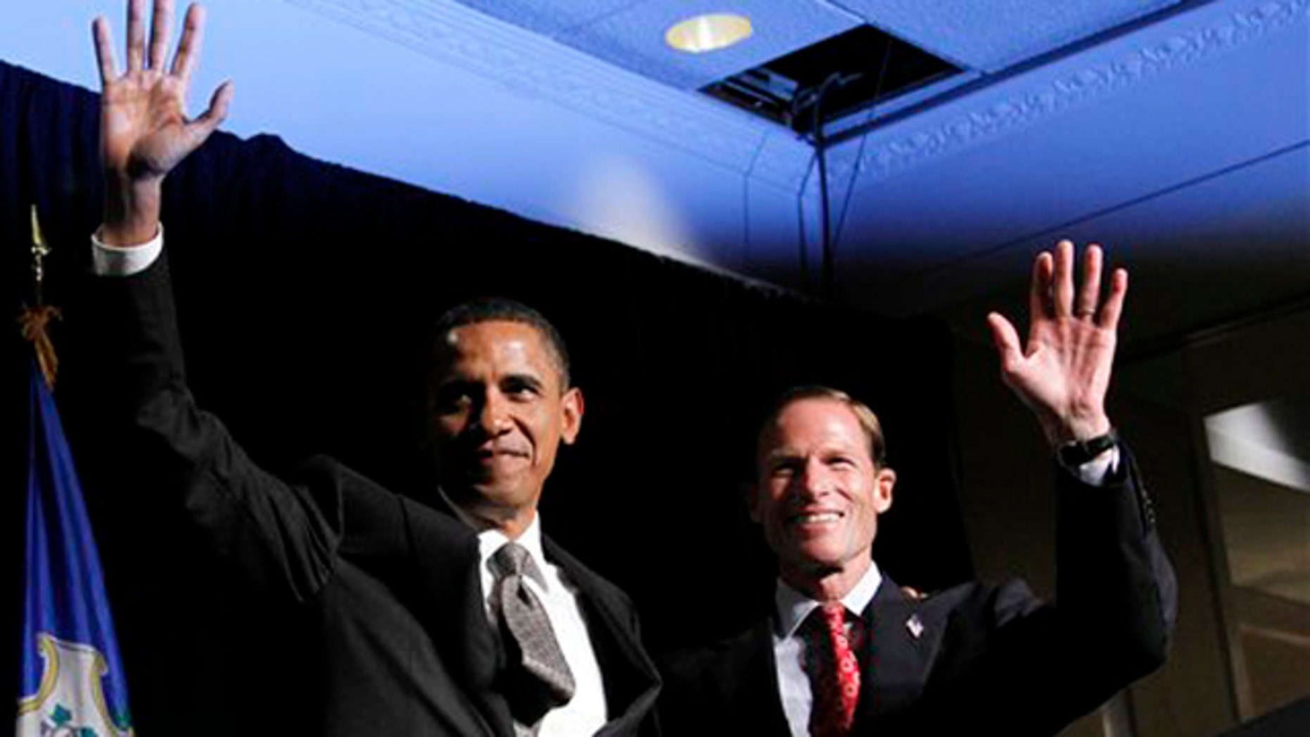 Sept. 16, 2010: President Barack Obama, left, with Connecticut Attorney General and Democrat candidate for US Senate Richard Blumental, right, wave during a fundraiser in Stamford, Conn.. Blumenthal is running in the Nov. 2 general election to fill the seat being vacated by the retirement of Sen. Christopher Dodd, D-Conn.