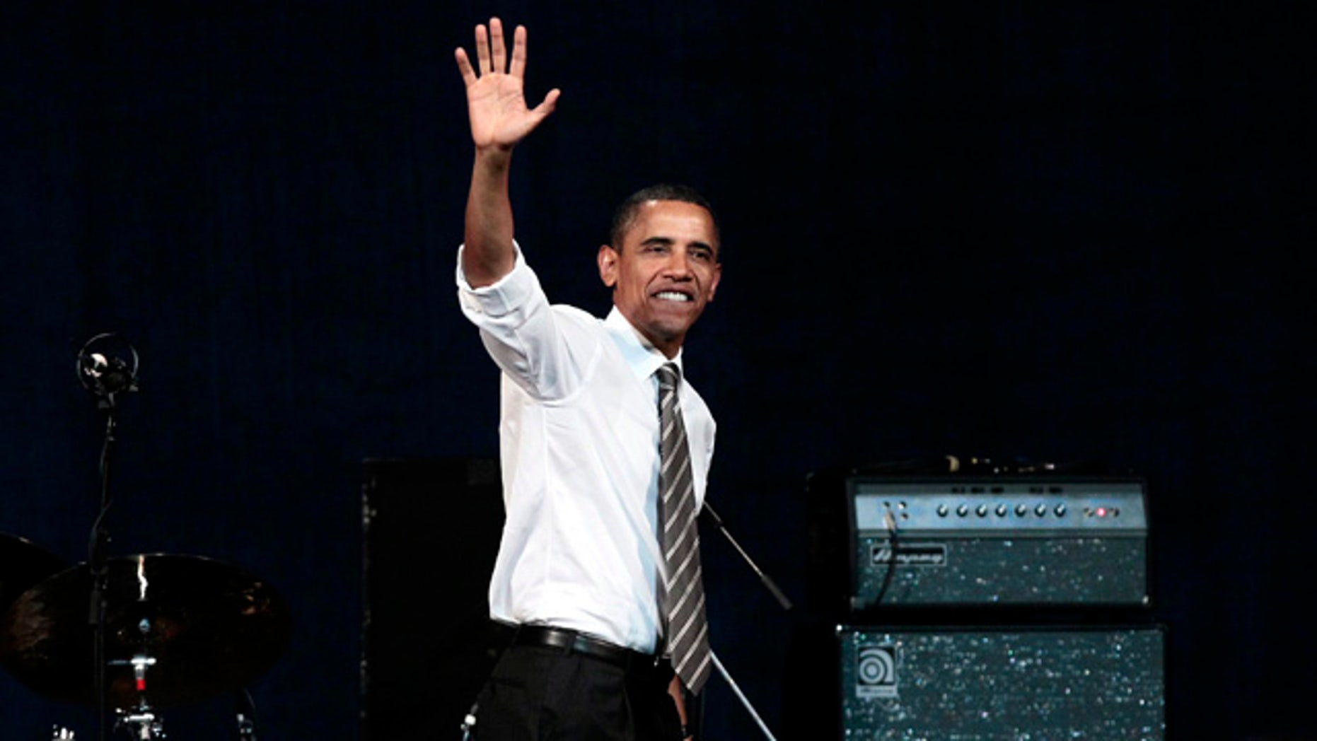 Sept. 25: President Barack Obama walks off stage after speaking at a Democratic fundraiser at the Paramount Theater in Seattle.