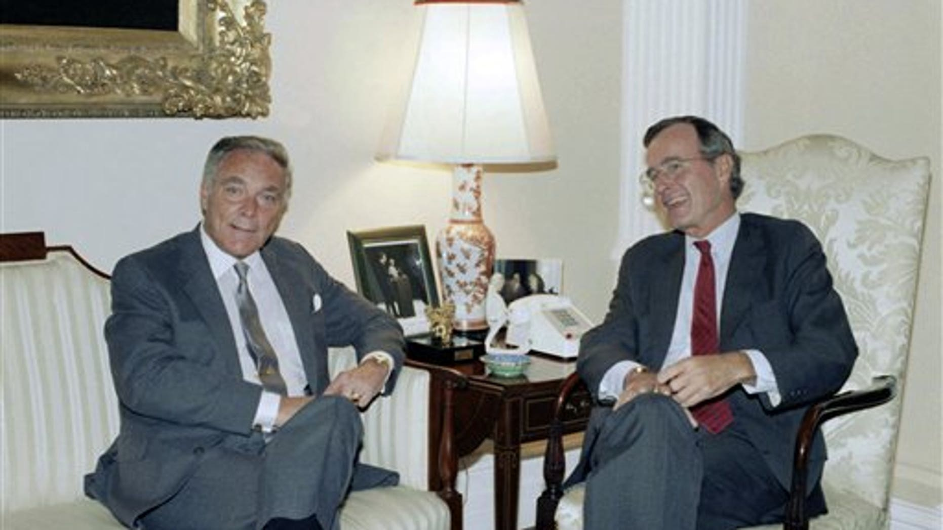 FILE - In this Sept. 25, 1985 photo, U.S. Vice President George H.W. Bush meets with former Secretary of State Alexander Haig. Haig died Saturday, Feb. 20, 2010, at age 85. (AP Photo)
