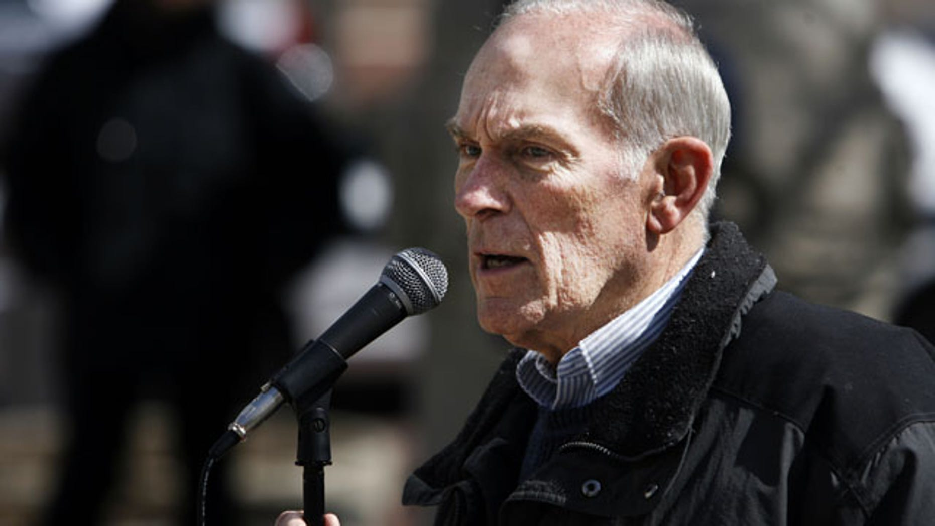 File-This March 29, 2008 file photo shows former Congressman Andy Jacobs, Jr., during the Peace Rally on Monument Circle. (AP Photo/Indianapolis Star)