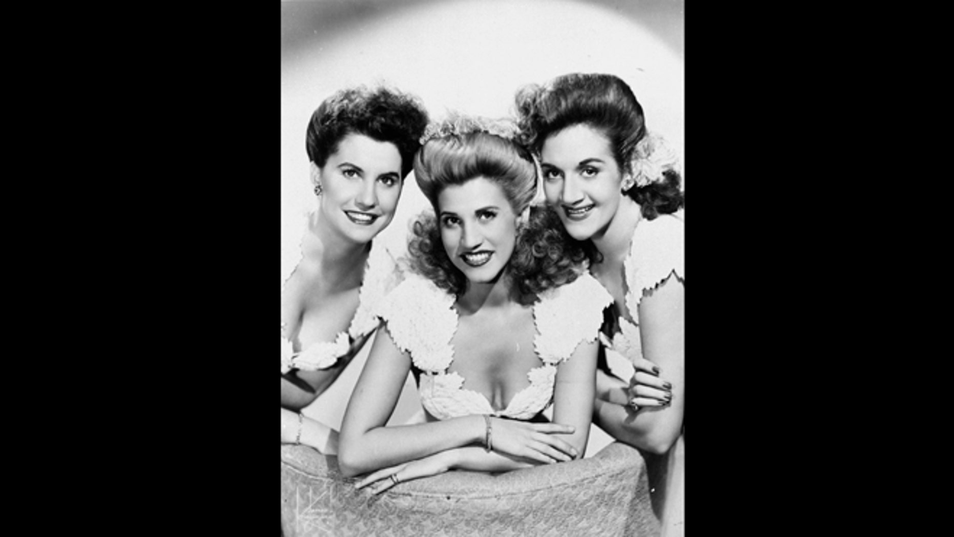 This 1947 publicity photo shows the pop vocal trio, The Andrews Sisters, from left, Maxine Andrews, Patty Andrews, and LaVerne Andrews. Patty Andrews died Wednesday, Jan. 30, 2013, at her home in suburban Northridge of natural causes, said family spokesman Alan Eichler.