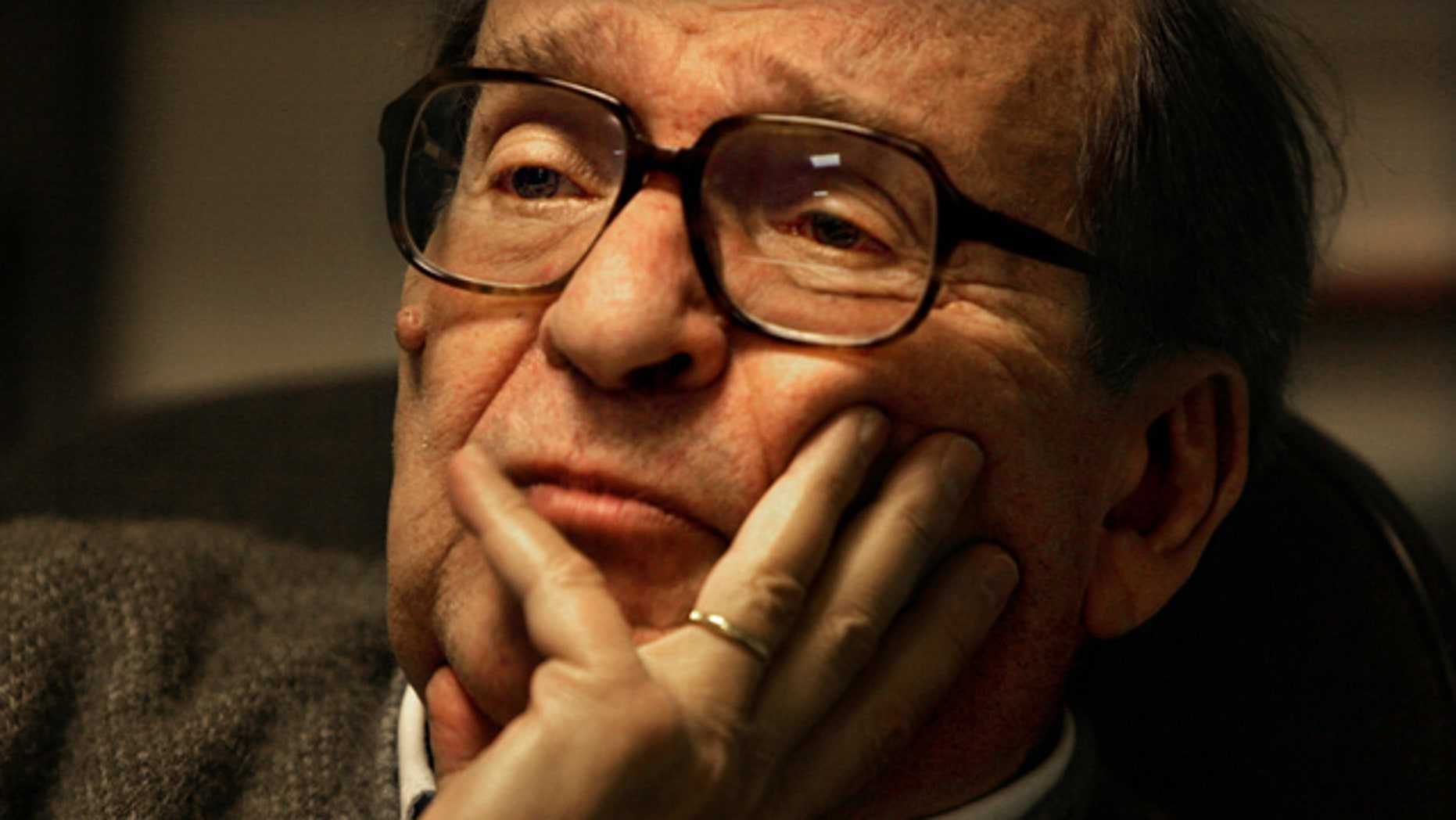 "This Tuesday Jan. 31, 2006 picture shows director Sidney Lumet during an interview in his New York office where he discussed the current state of TV news, the focus of his 1976 film, ""Network."""