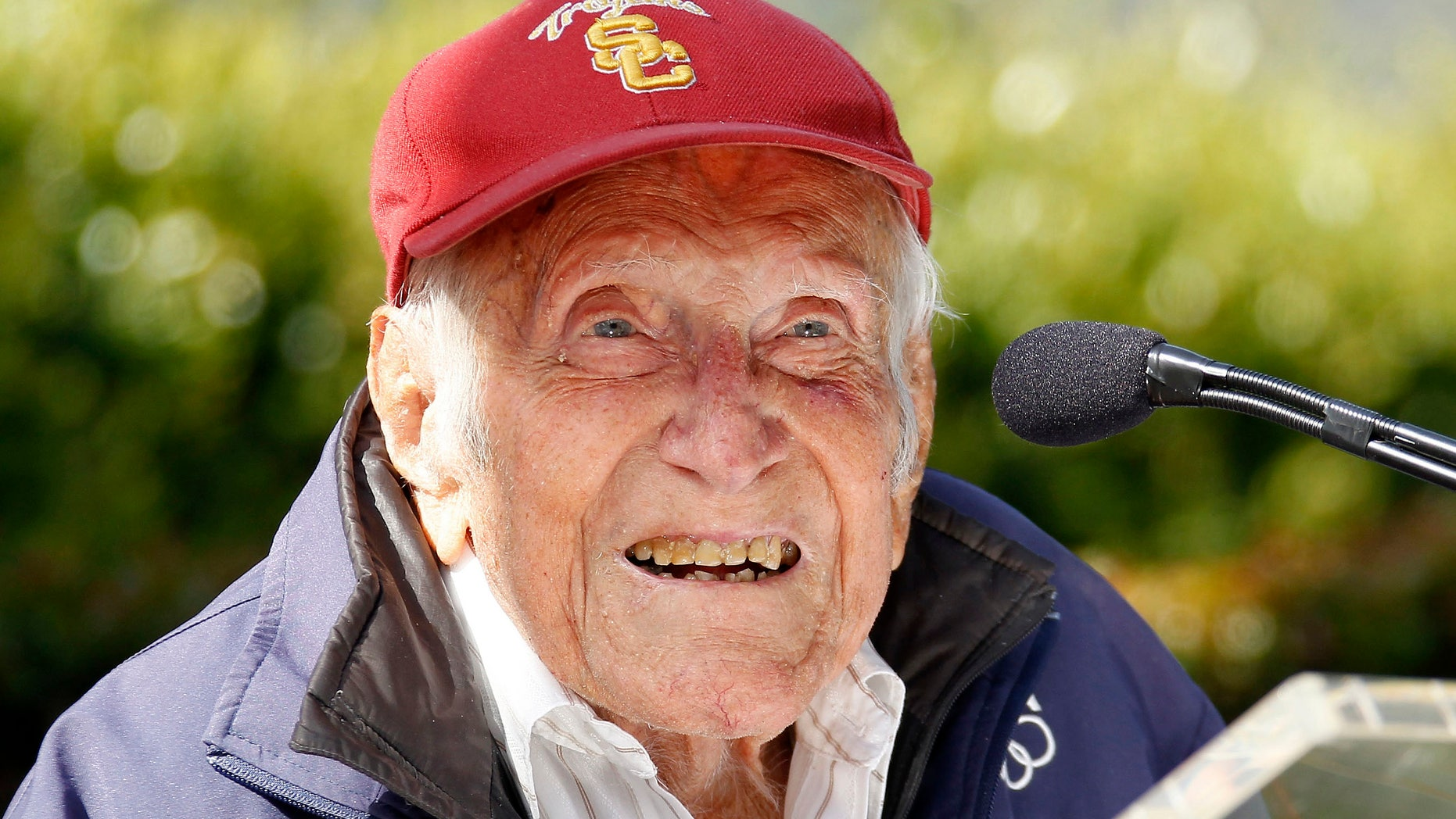 FILE -- May 9, 2014: Louis Zamperini speaks at a news conference in Pasadena, Calif.