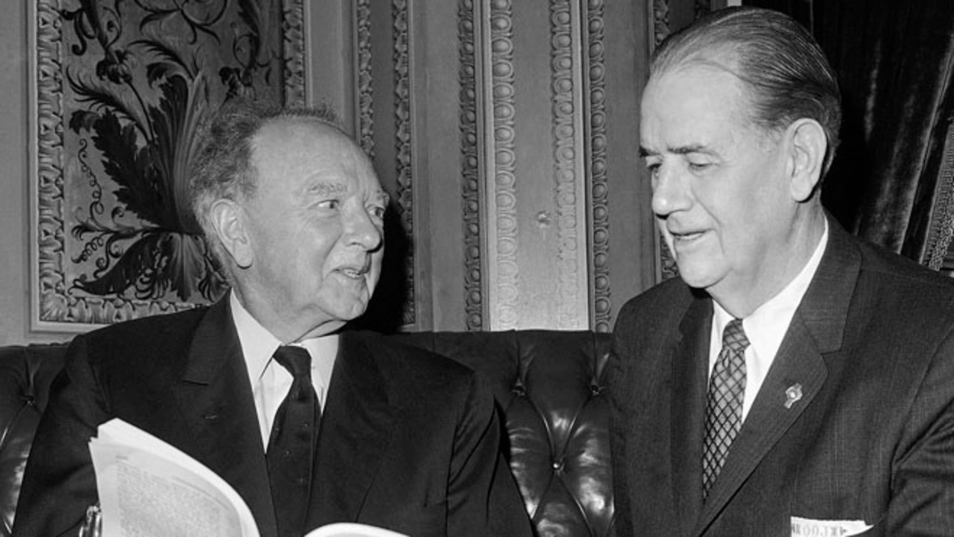 Sen. Harry F. Byrd, D-Va.,left,  and Sen. Olin Johnston, D-S.C. in a Senate cloak room on Capitol Hill in Washington as the debate on the House-passed civil rights bill moved into its 31st day. April 15, 1964.
