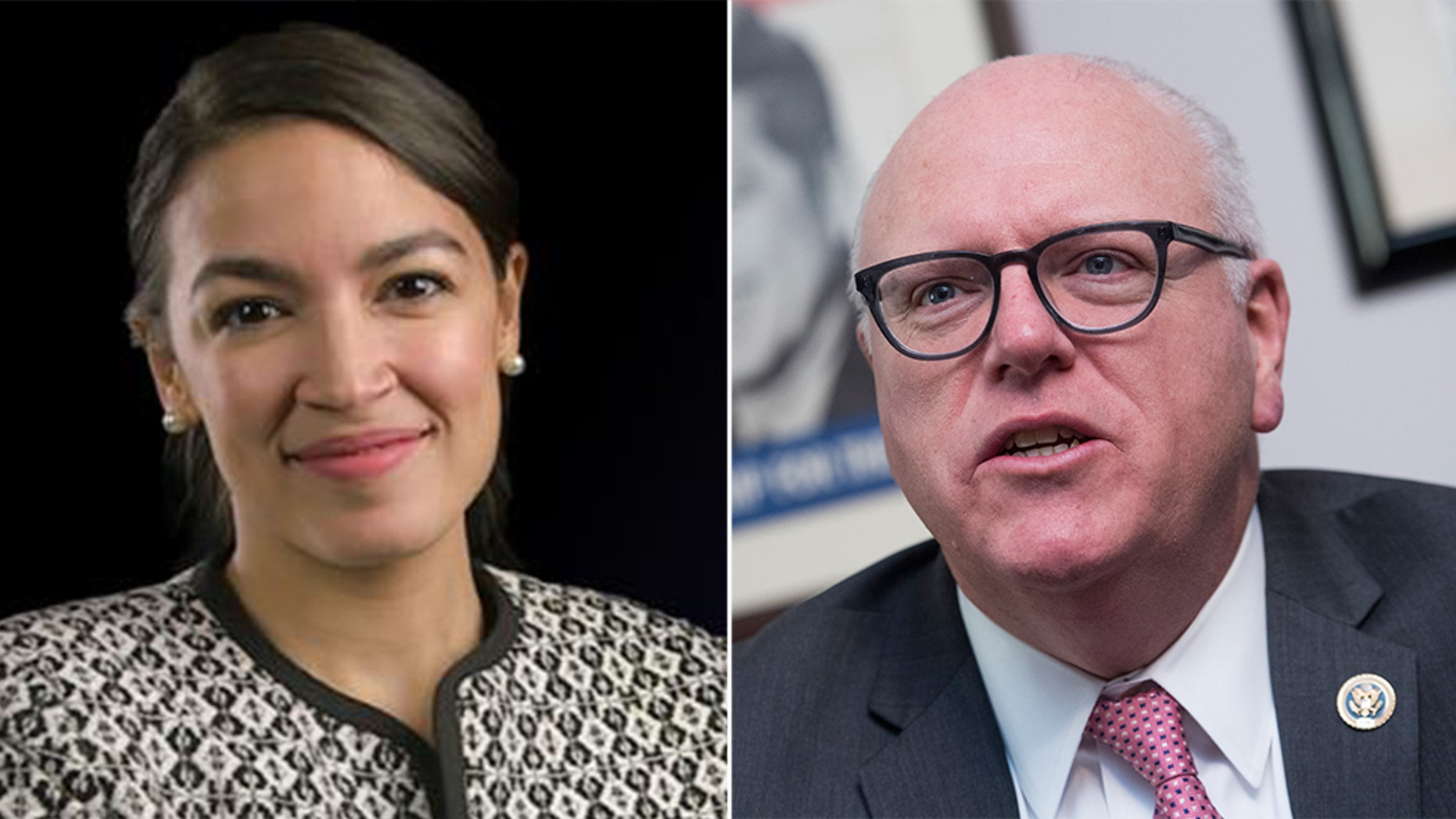 House Democratic Caucus Chairman Joe Crowley, D-N.Y., right, lost in a stunning primary defeat to political newcomer Alexandria Ocasio-Cortez, left.