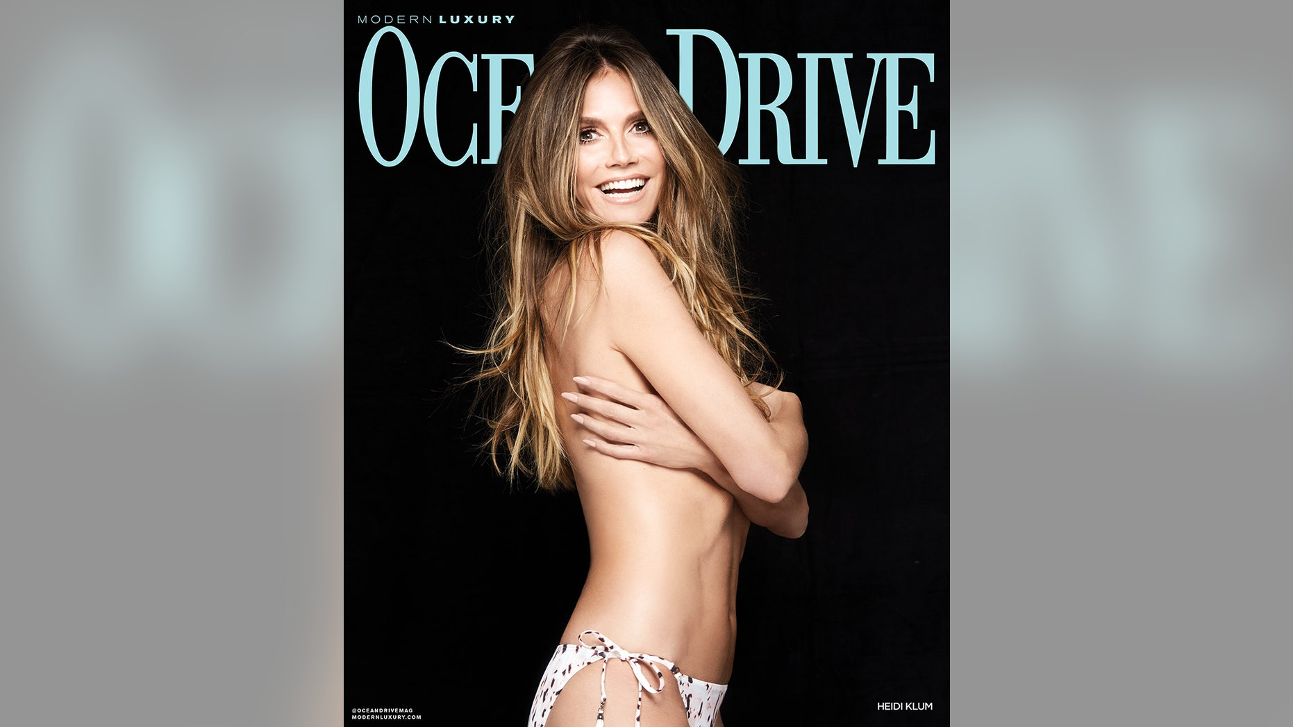 Heidi Klum posed topless for Ocean Drive.