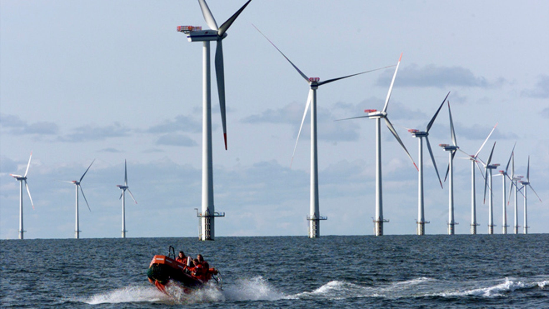 FILE 2002: Offshore windmills in the North Sea offshore from near Esbjerg, Denmark. Officials said five floating turbines will be placed off Oregon's Coos Bay.