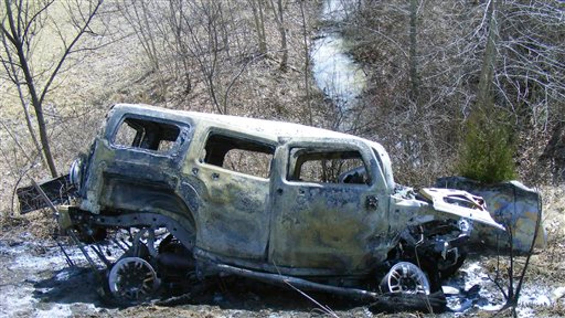 2009: The burned vehicle after an accident in Marion, Ohio.