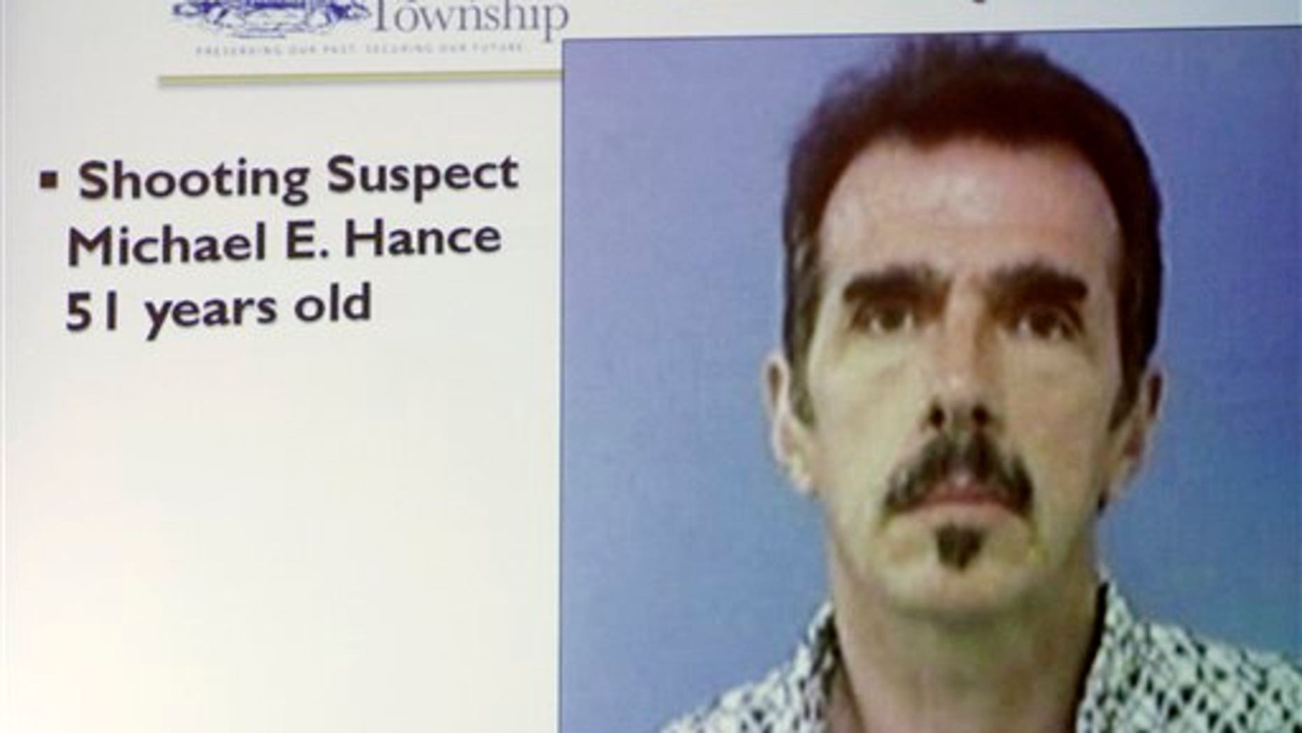 August 8: Projected image of Michael E. Hance shown at a police news conference in Copley, Ohio.