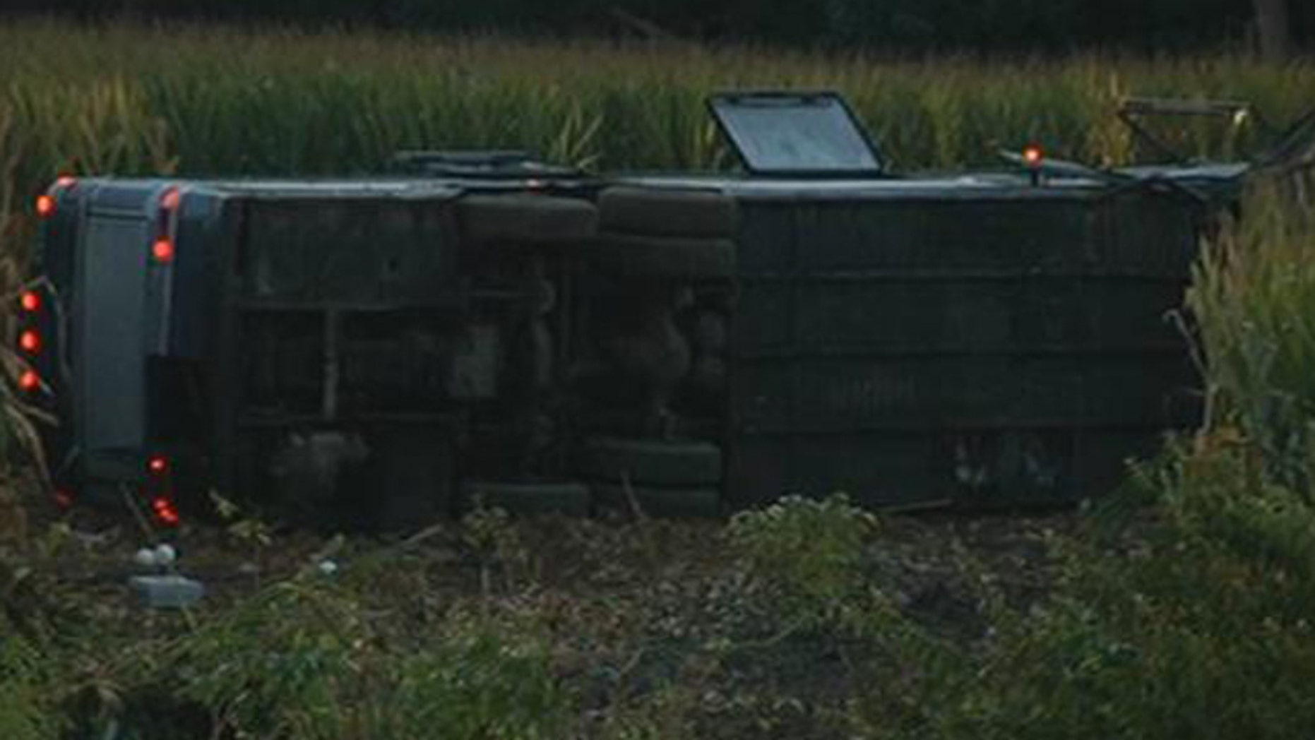 Sept. 14, 2013: A Greyhound bus has overturned on an interstate in southwest Ohio and 34 people have been hurt.
