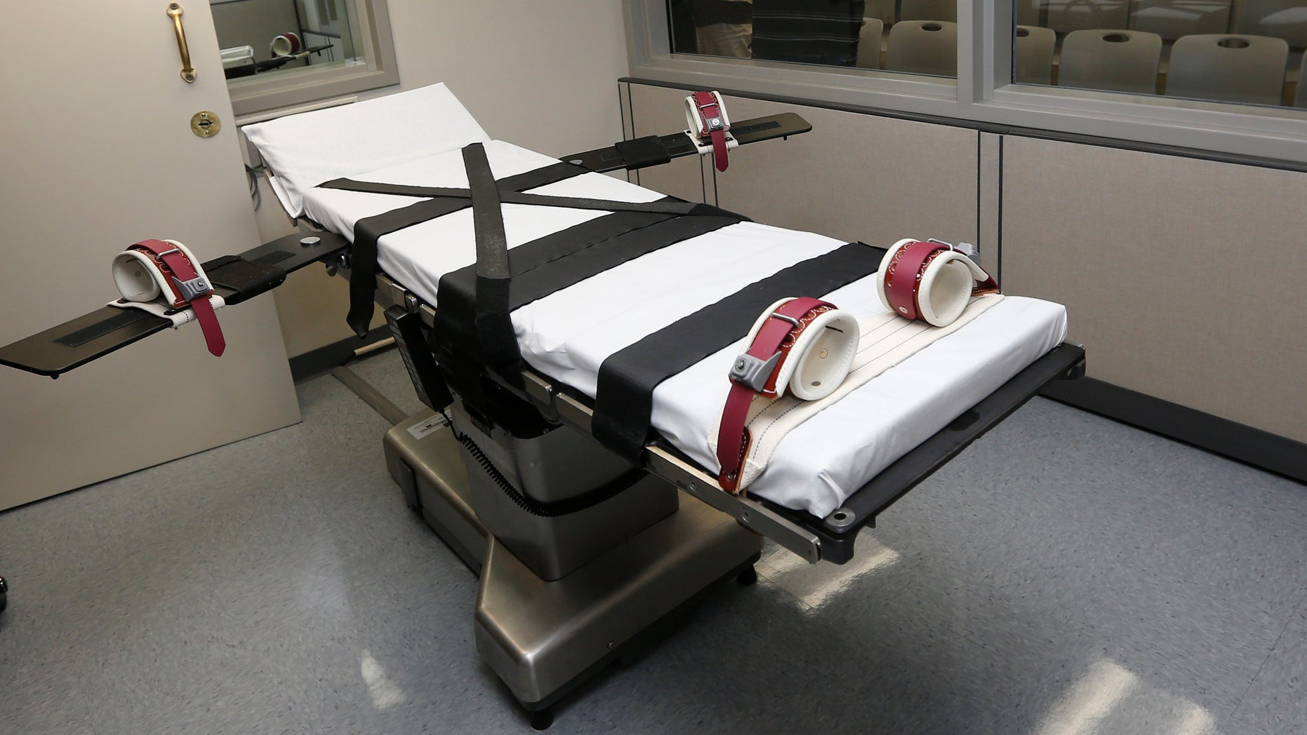 Oct. 9, 2014: The gurney in the the execution chamber at the Oklahoma State Penitentiary is pictured in McAlester, Okla.