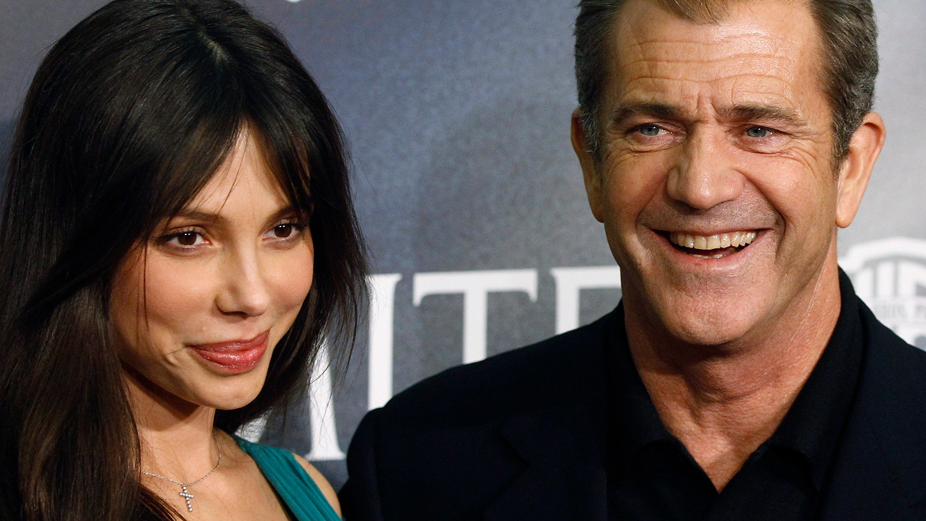 "Actor Mel Gibson (R) and Oksana Grigorieva pose during the Spanish premiere of the film ""Edge of Darkness"" in Madrid in this February 1, 2010 file photo."