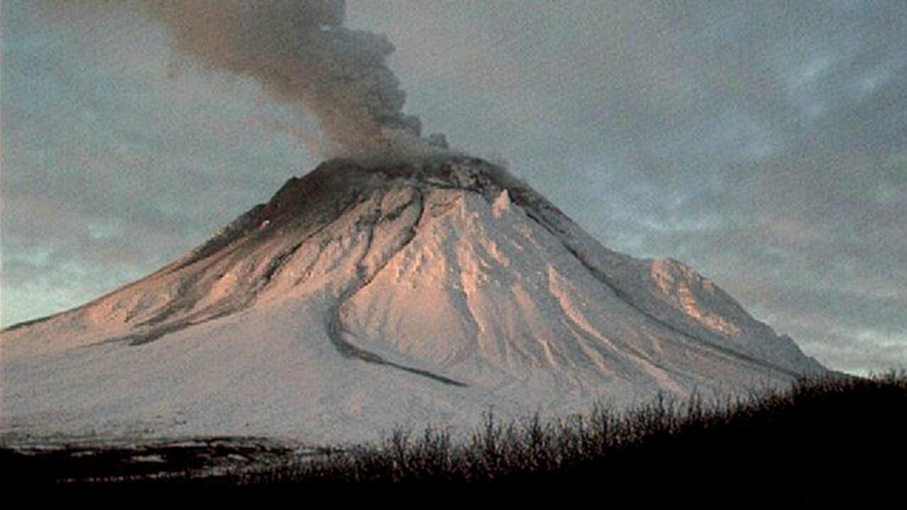 Jan. 12, 2006: The Alaska Volcano Observatory's Augustine Island webcam shows steam rising from Augustine Volcano 75 miles southwest of Homer, Alaska.