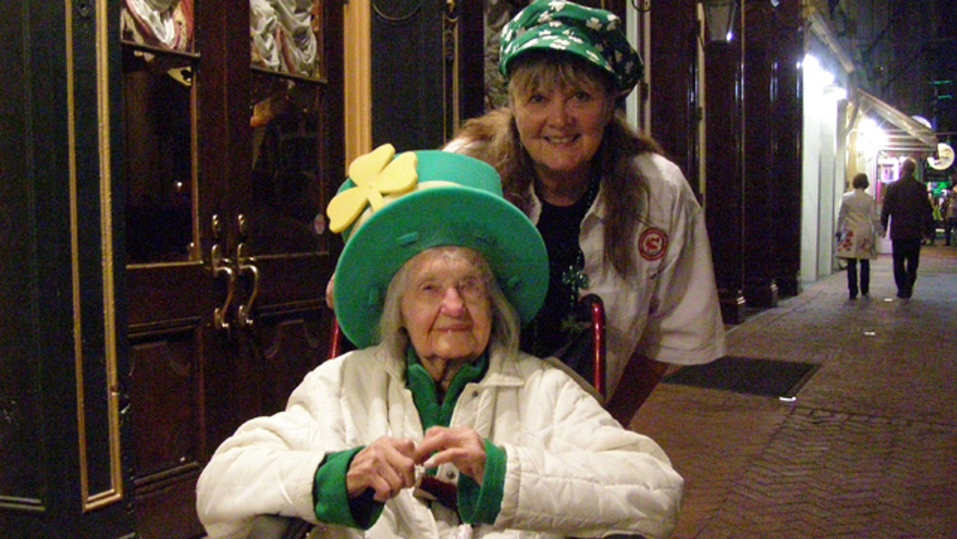Lena Reppert and her daughter Jean Weber celebrate St. Patrick's Day in New Orleans in 2010. TSA agents stopped the elderly woman and made her remove her Depends before she boarded a flight, according to her daughter