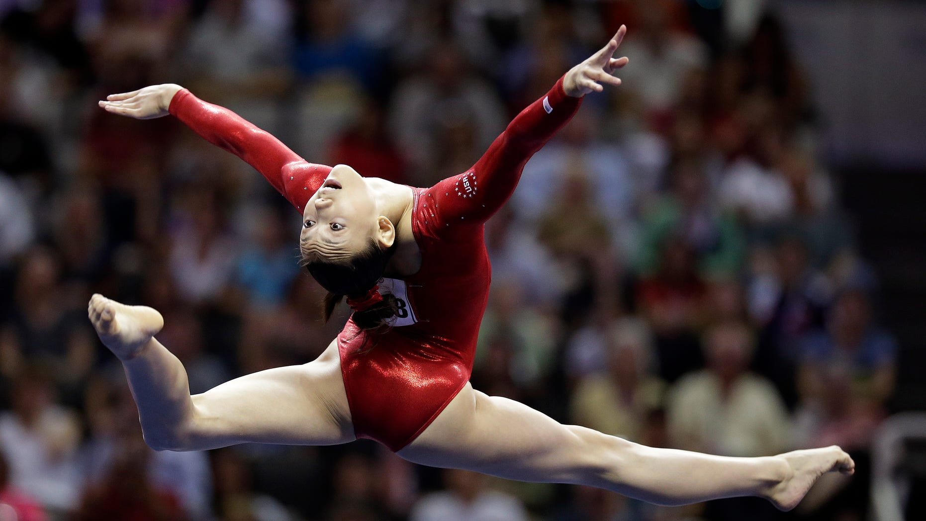 July 1, 2012: Kyla Ross competes in the floor exercise event during the final round of the women's Olympic gymnastics trials, in San Jose, Calif.