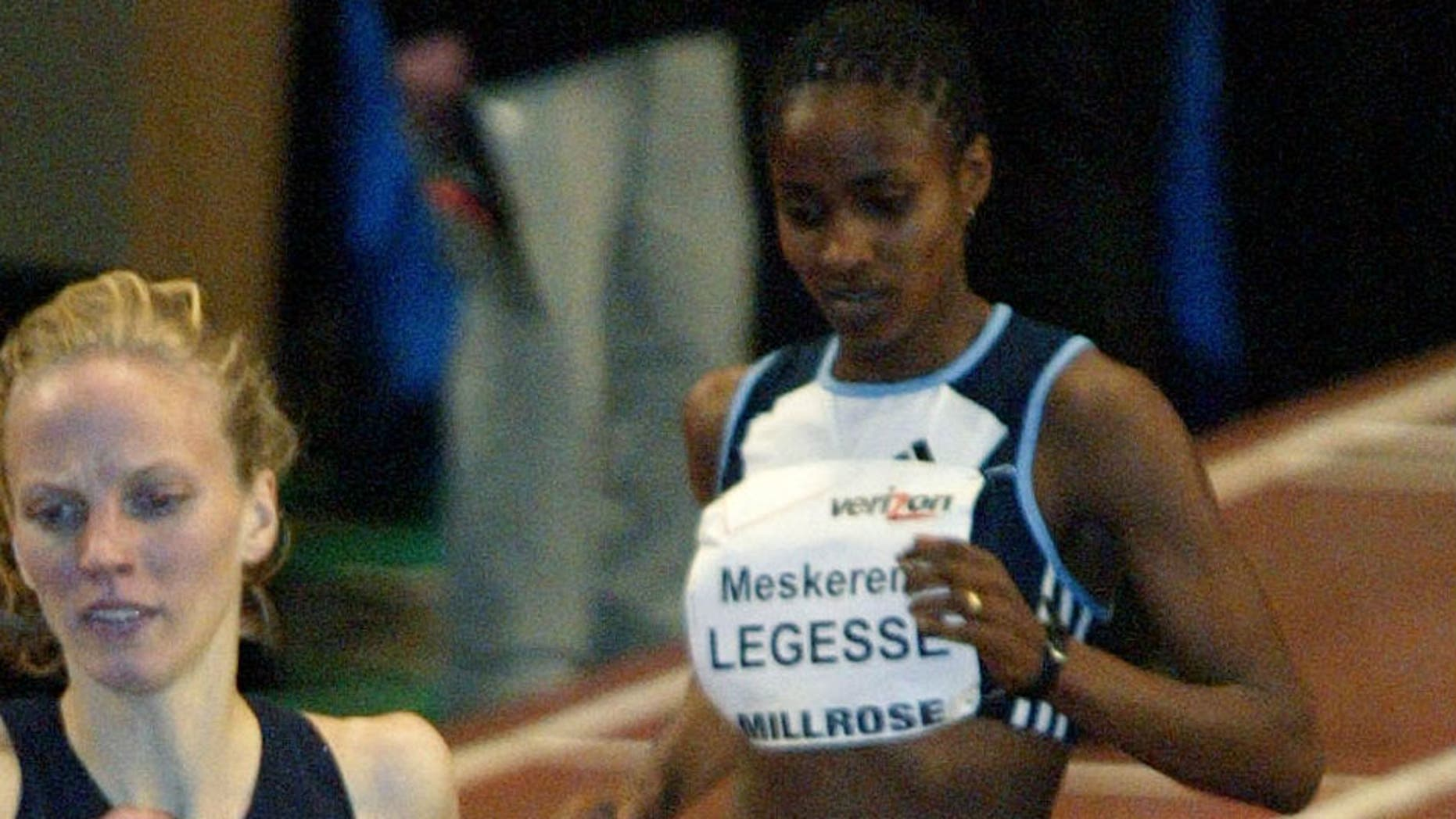 FILE: Meskerem Legesse competes in the Women's 1500 meter run at the Millrose Games at New York's Madison Square Garden.