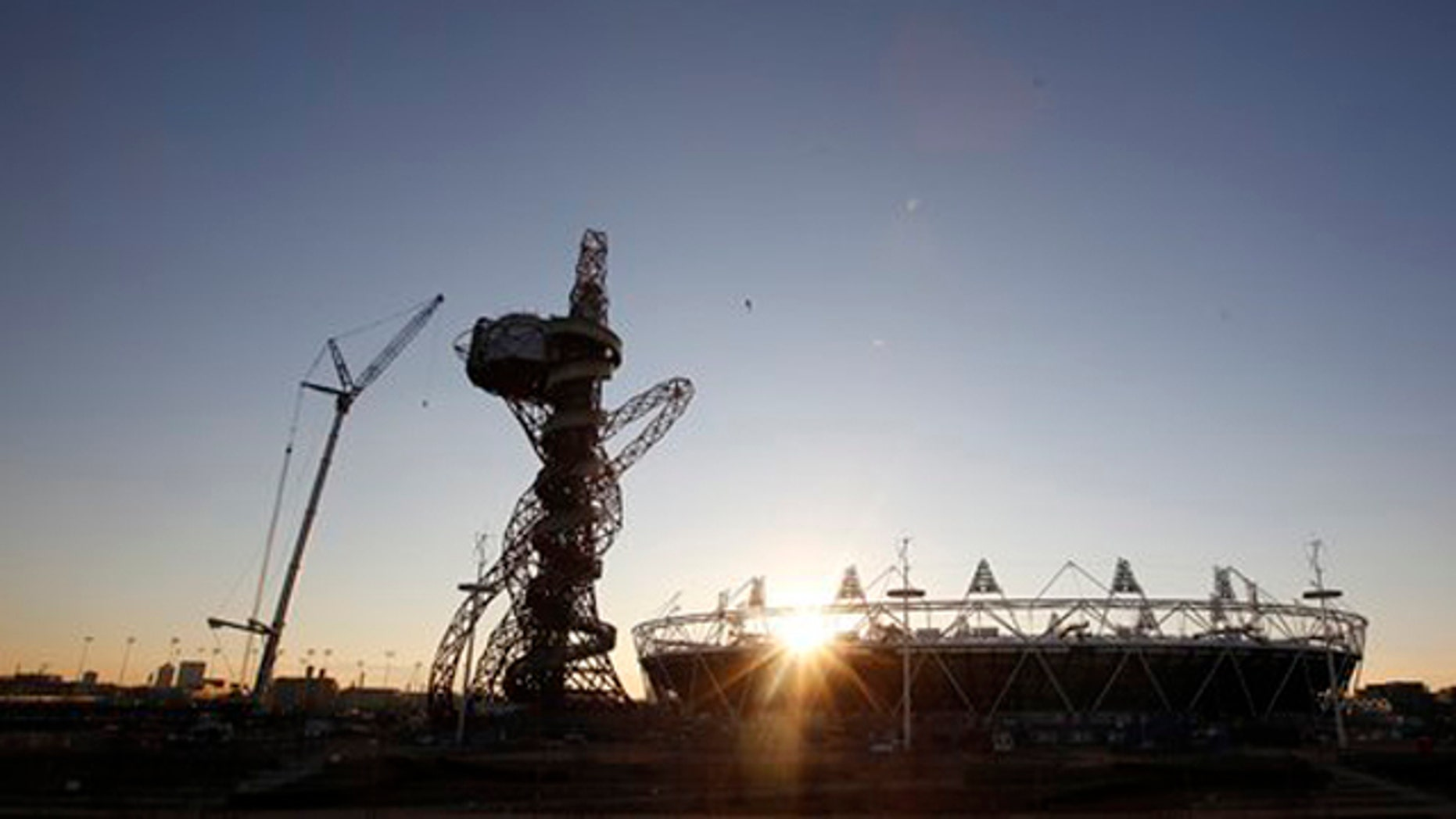 Feb. 23, 2012: The London 2012 Olympic Stadium is seen at about sunset, with the partially completed ArcelorMittal Orbit  at the Olympic Park in London.