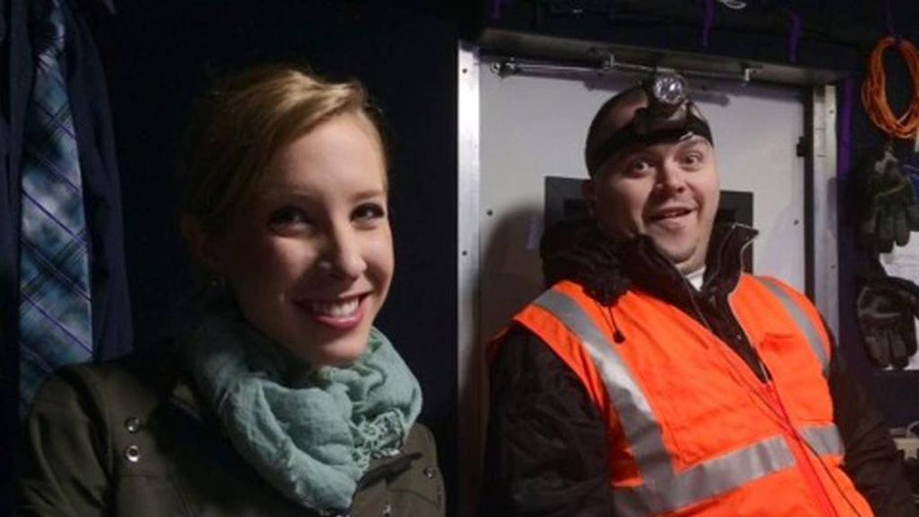 FILE - This undated file image made available by WDBJ-TV shows reporter Alison Parker, left, and cameraman Adam Ward. Community religious leaders gathered Sunday, Aug. 30, 2015 to remember Parker and Ward, who were shot and killed by a former co-worker on Aug. 26. (Courtesy of WDBJ-TV via AP, File) MANDATORY CREDIT