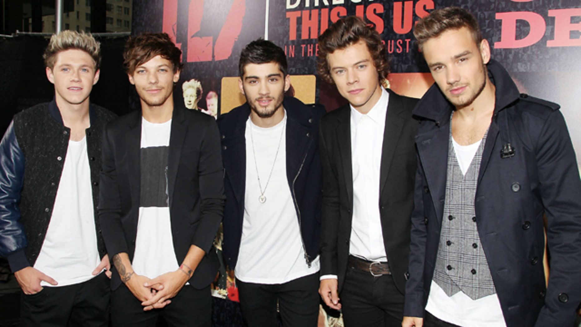 """Aug. 26, 2013: Members of One Direction, from left, Niall Horan, Louis Tomlinson, Zayn Malik, Harry Styles, and Liam Payne at the  premiere of the film """"One Direction:This Is Us,"""" at the Ziegfeld Theatre in New York."""