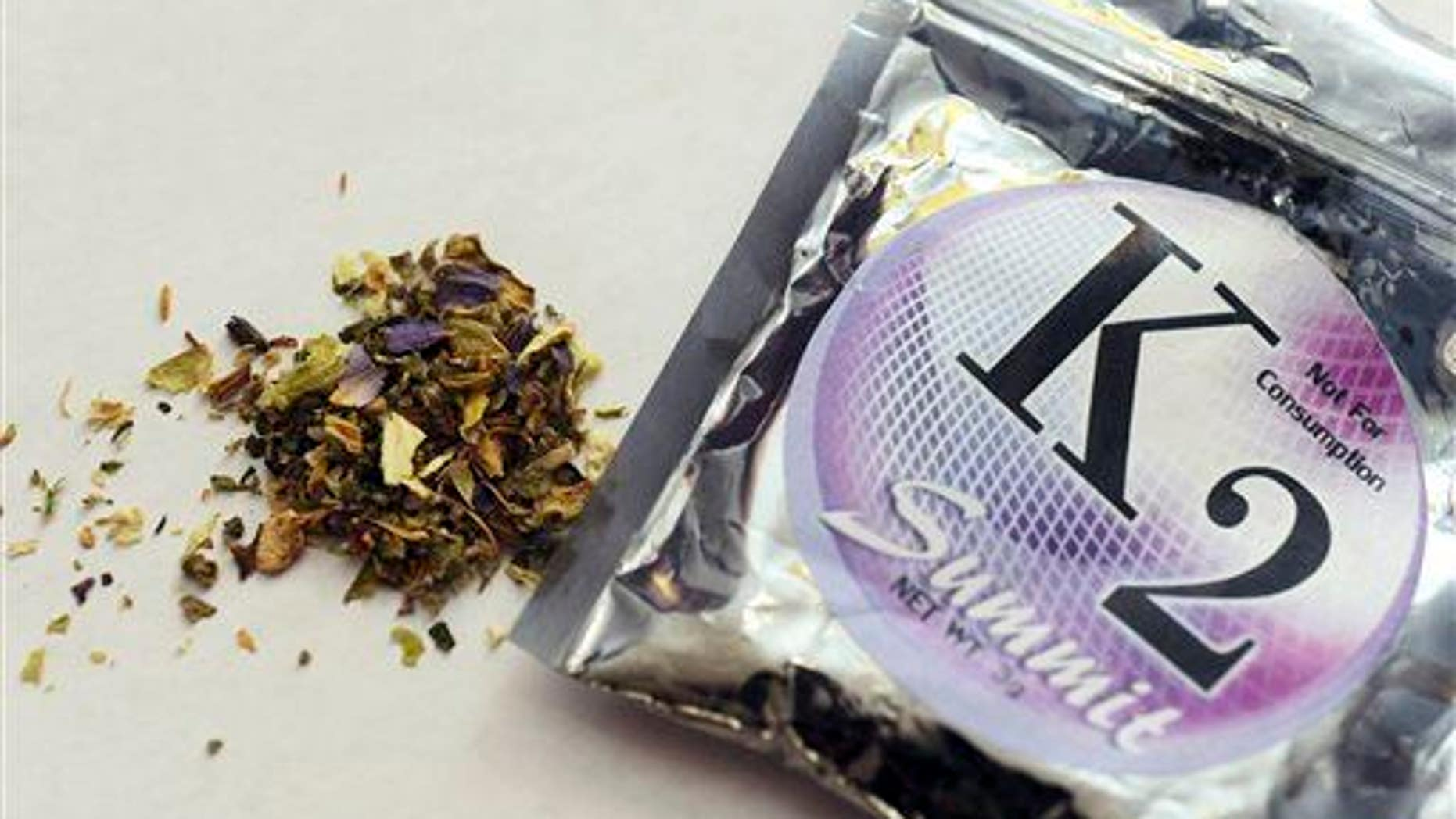 A package of synthetic marijuana, also known as Spice or K2.
