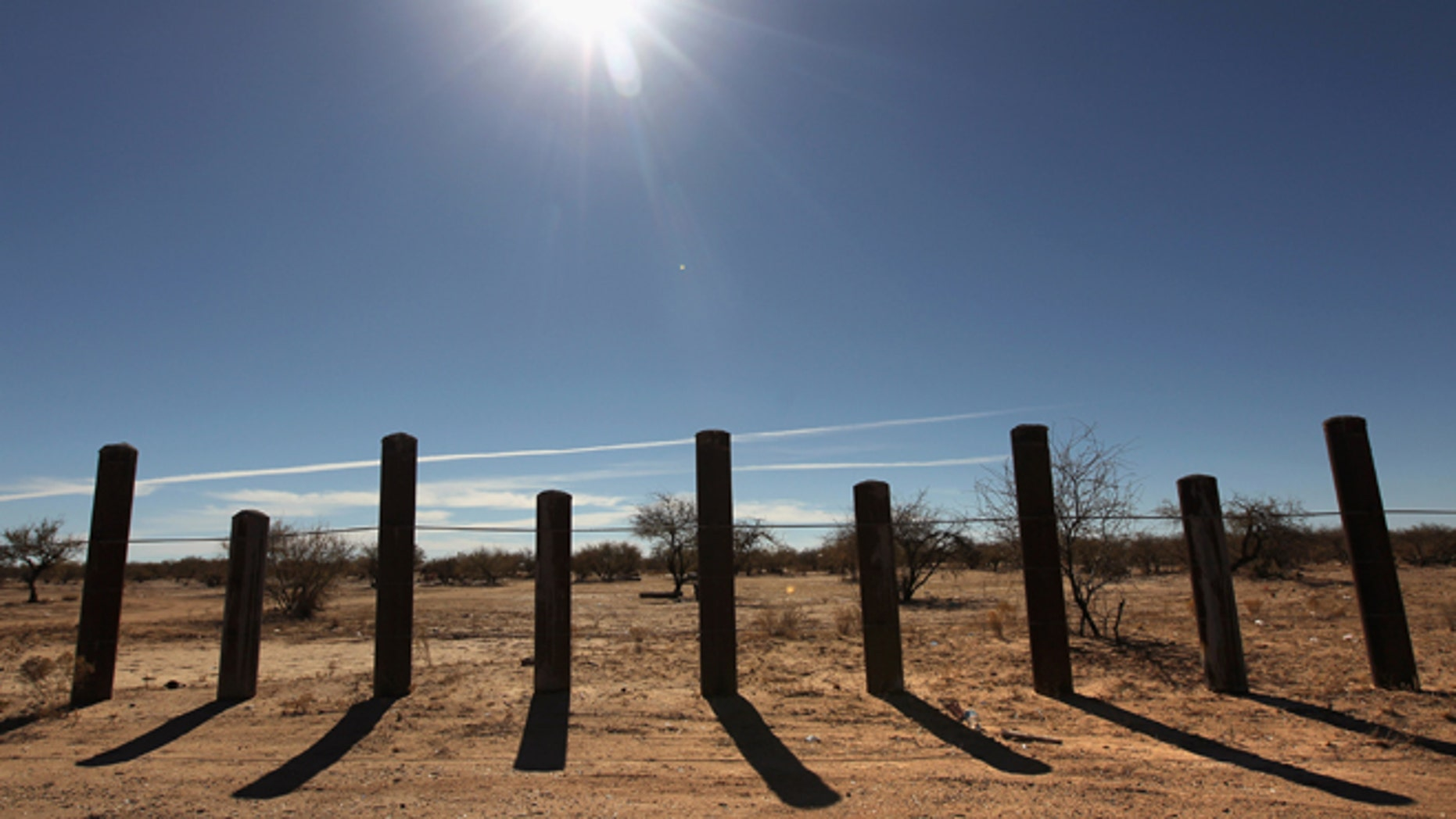 The U.S. Mexico border on the Sonoran Desert on January 18, 2011 in the Tohono O'odham Nation, Arizona.