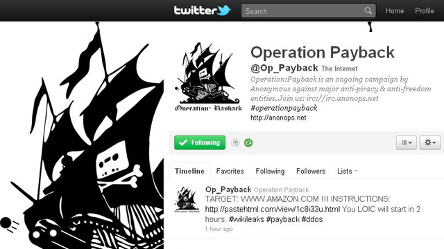 On the Twitter feed for Operation: Payback's, a cyberattack campaign targeting the perceived opponents of WikiLeaks, the next target is highlighted: Amazon.com.