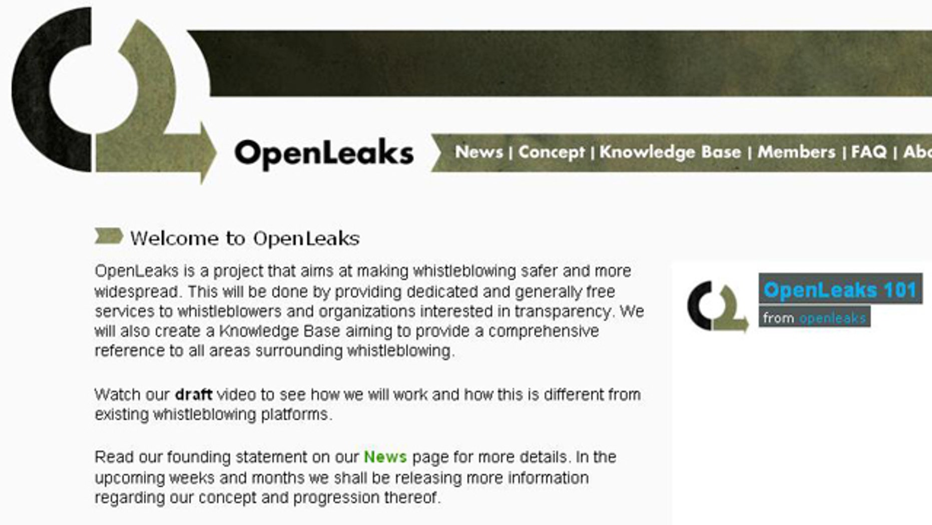 The website for WiiLeaks-competitor OpenLeaks.org, which launched Thursday after information about the site was itself leaked.