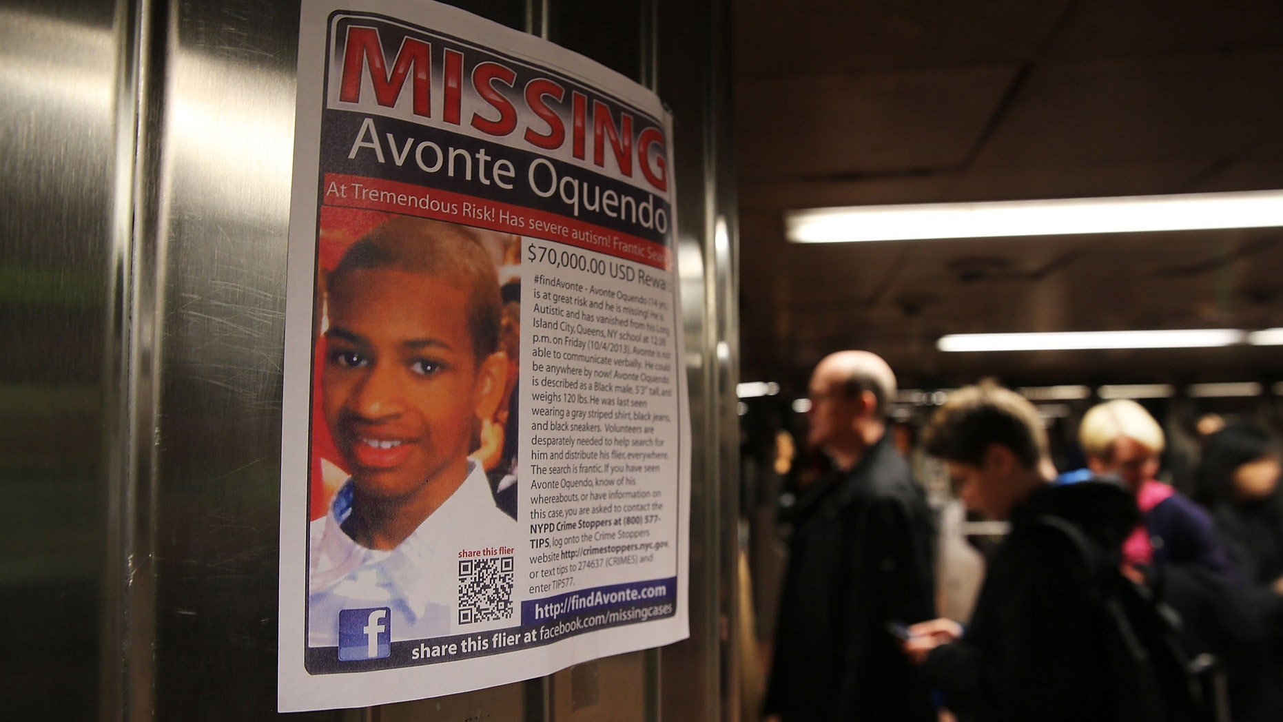 NEW YORK, NY - OCTOBER 21:  A poster for a missing autistic 14-year-old named Avonte Oquendo hangs in subway station on October 21, 2013 in New York City. Hundreds of Police, volunteers, friends and family are searching for Avonte who walked out of the Center Boulevard School in Long Island City, Queens on October 4, 2013 and has not been seen since. Family members say that the teen has a fondness for trains and have focused their search along rail yards and in subway stations.  (Photo by Spencer Platt/Getty Images)