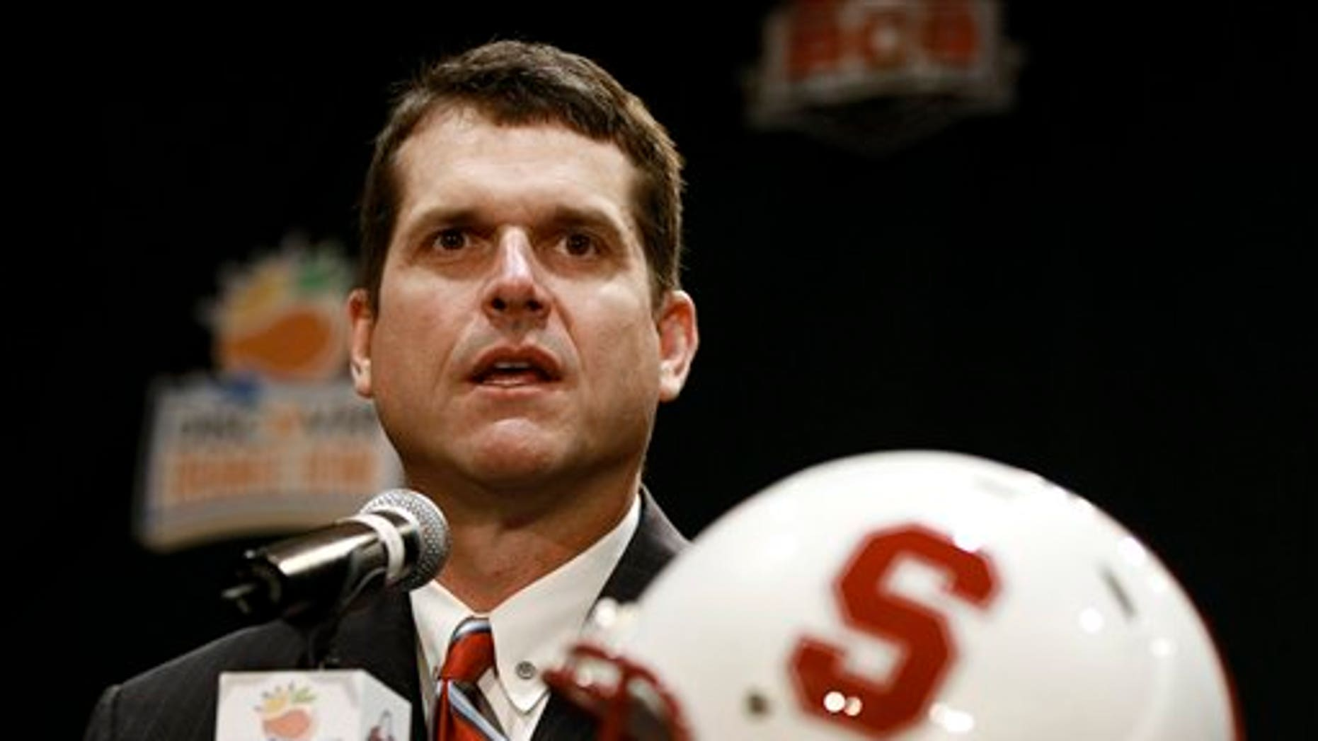 Jan. 2, 2011: Stanford football head coach Jim Harbaugh answers questions during a coach'ss new conference in Ft. Lauderdale, Fla.