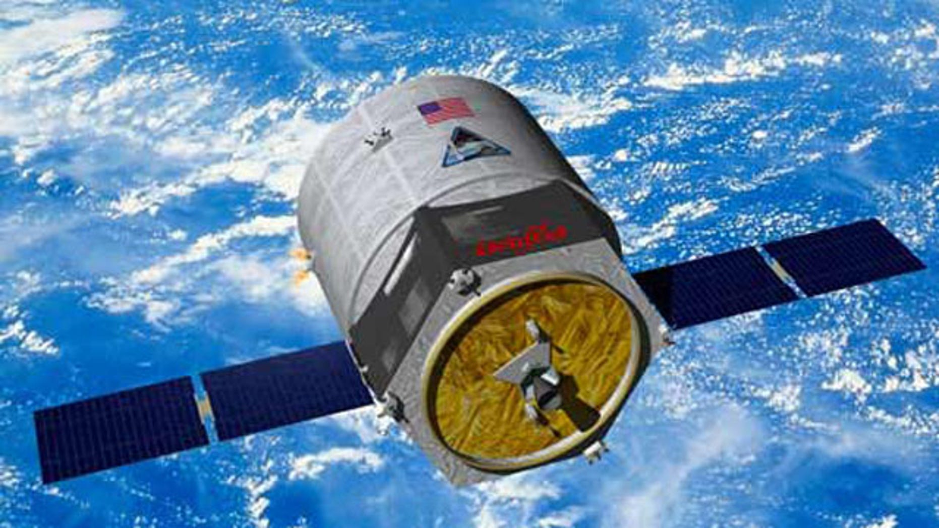Artist rendering of Orbital Science's Cygnus cargo spacecraft approaching the International Space Station.