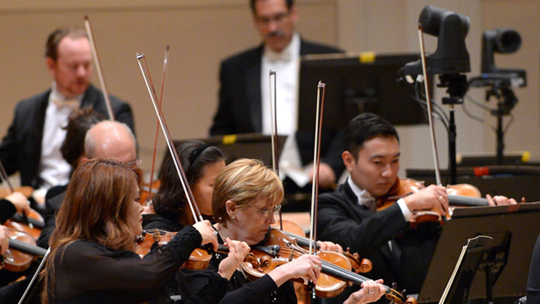 NEW YORK, NY - OCTOBER 07:  The New York Philharmonic performs on stage during the Carnegie Hall 125th season opening night gala at Carnegie Hall on October 7, 2015 in New York City.  (Photo by Andrew Toth/Getty Images)