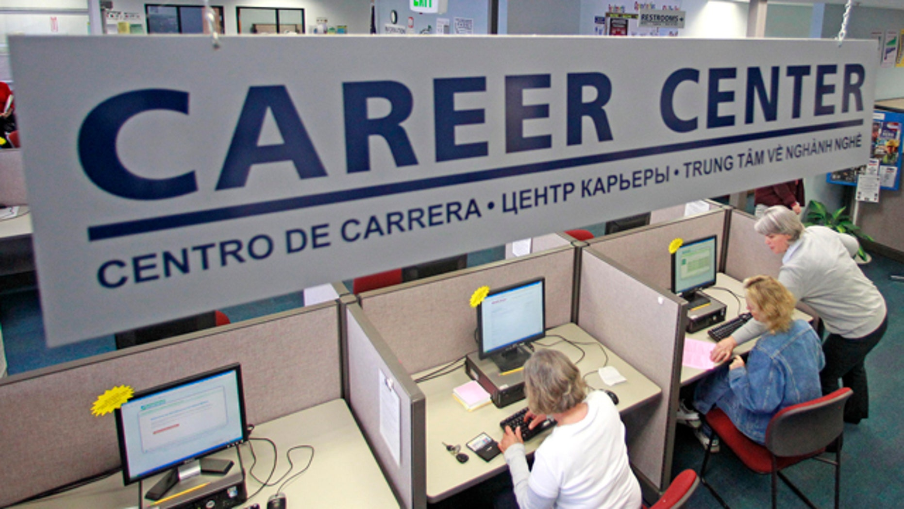 May 17: Job searches use computers to search for jobs at WorkSource Oregon, in Tualatin, Ore.
