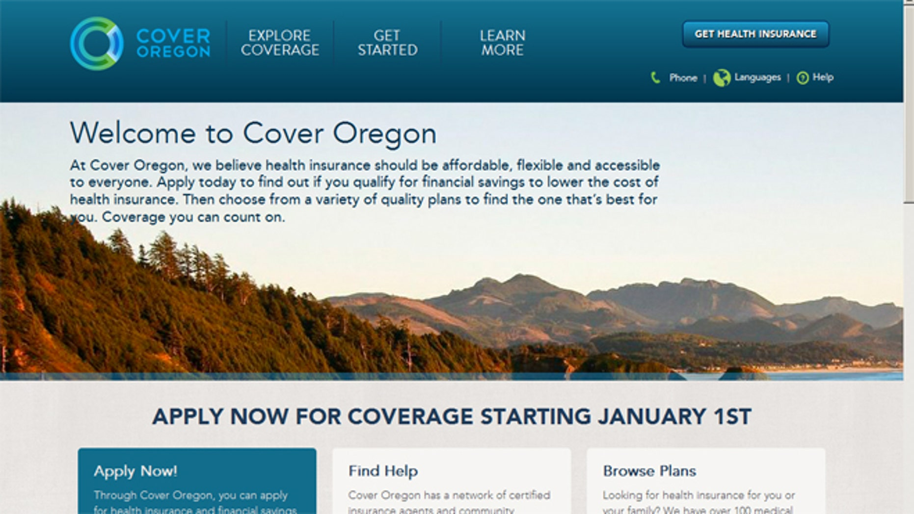 File: Nov. 18, 2013: A screen shot of the Oregon-run ObamaCare website.